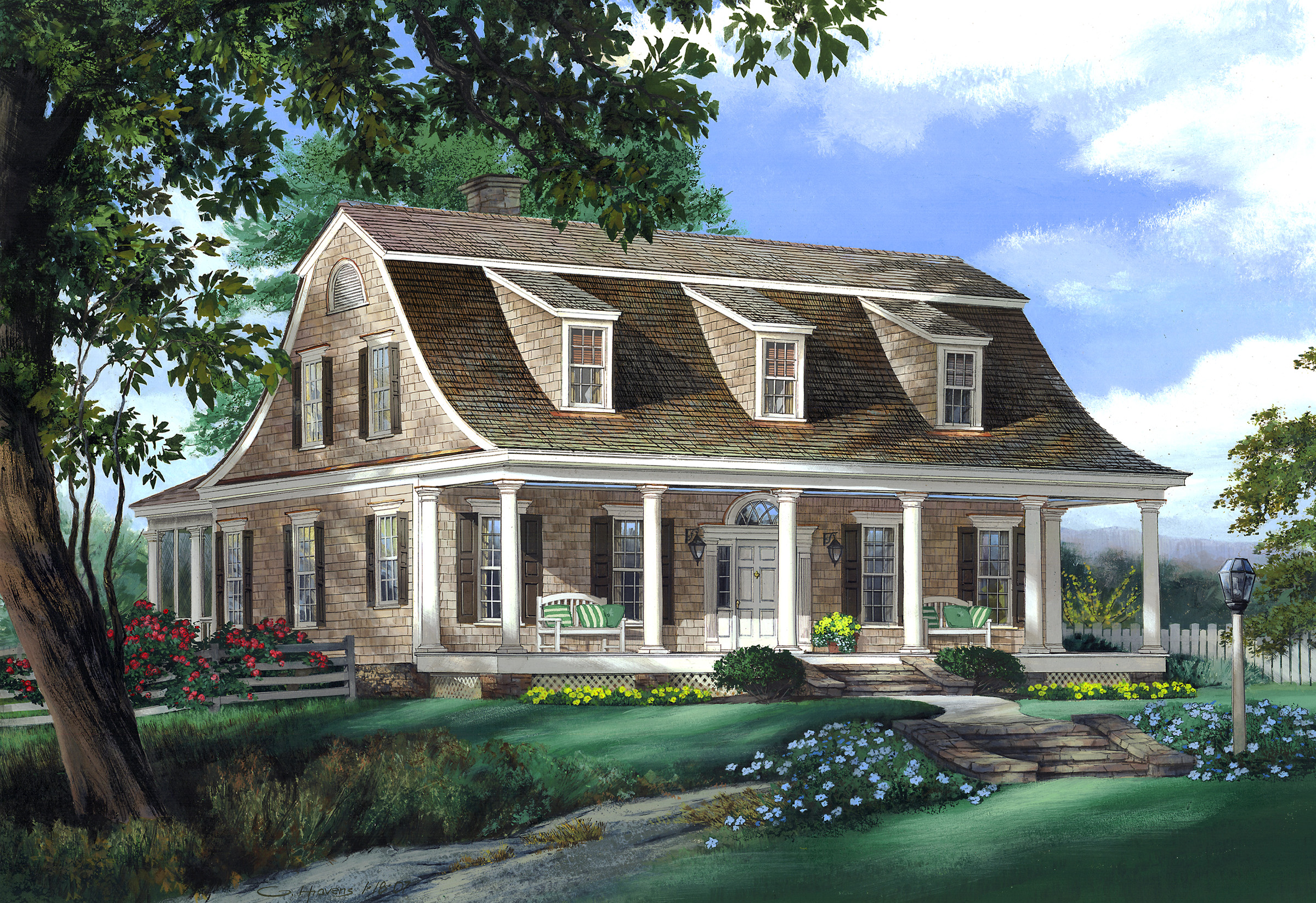 gambrel roof house plans vintage home plans gambrel 1986a