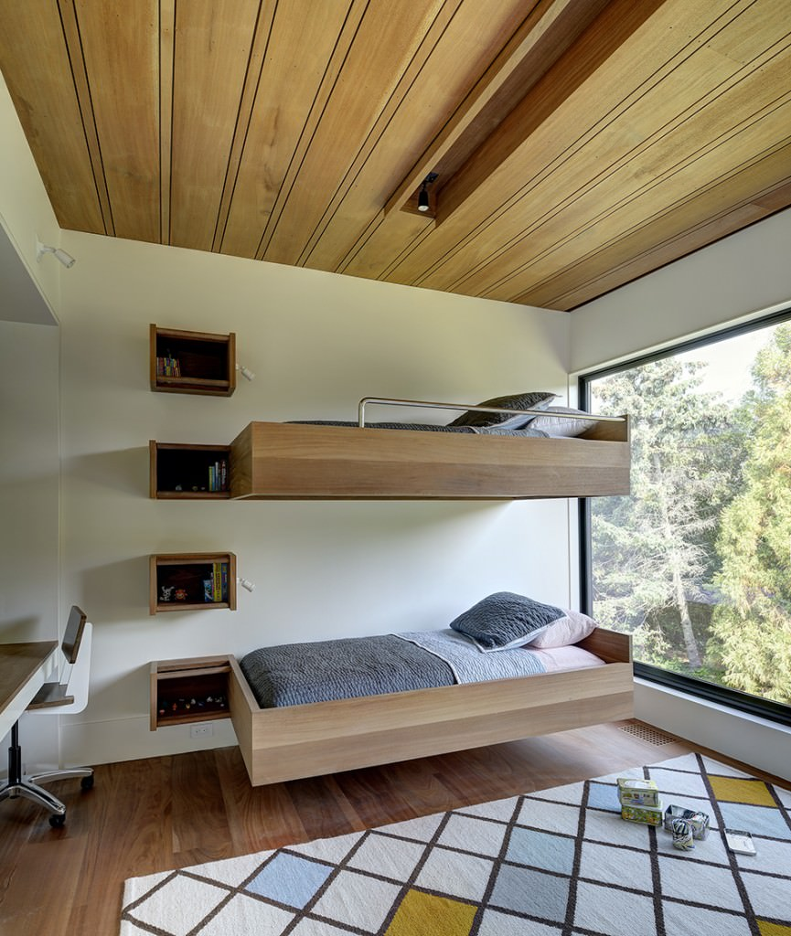 Okay, you don't have to go the bunk bed route for your master bedroom, but the floating bed is ideal for small spaces.