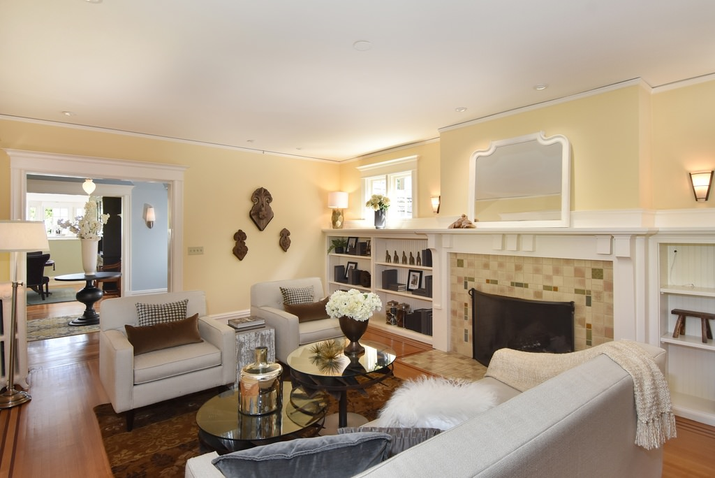 Gorgeous contemporary living room in an American Foursquare home