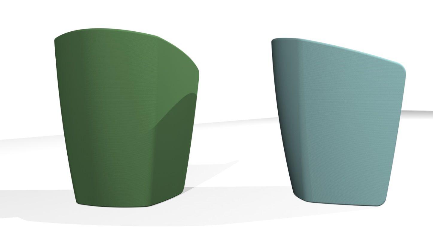 3D blueprint design rear view of chair