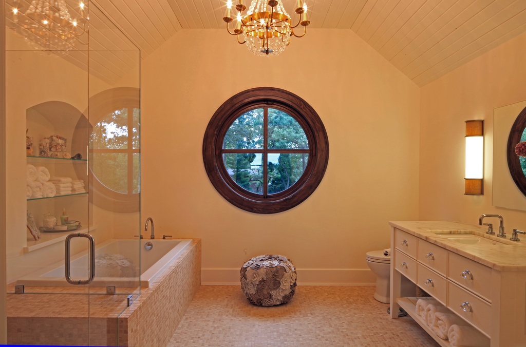 Ship-Style Round Window with Wooden Frame
