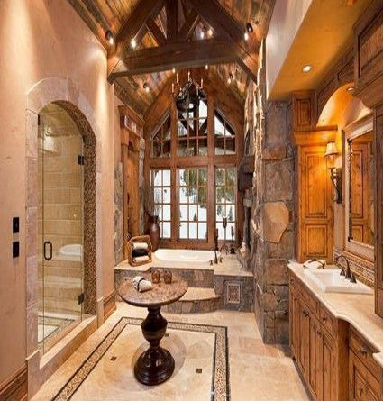 Bathroom with Massive Peak Window with Rustic Wood Frame Next to Bathtub