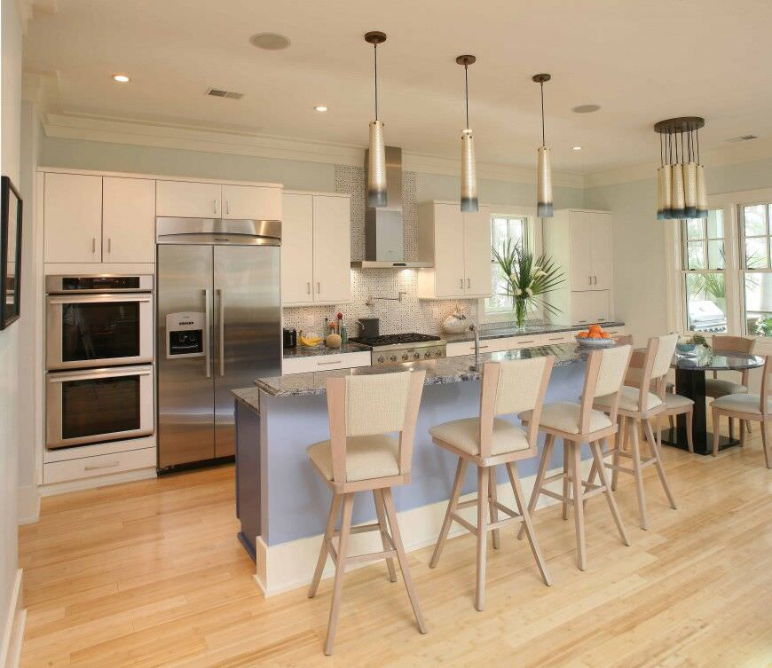 Wonderful Ovens For Small Kitchens Part - 10: Contemporary Small Kitchen With Plenty Of Light With A Double Stainless  Steel Wall Oven.