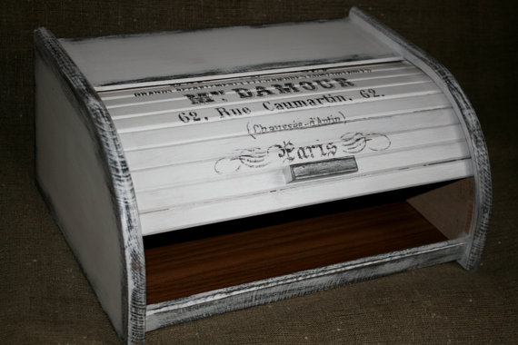 White vintage roll-top wooden bread box