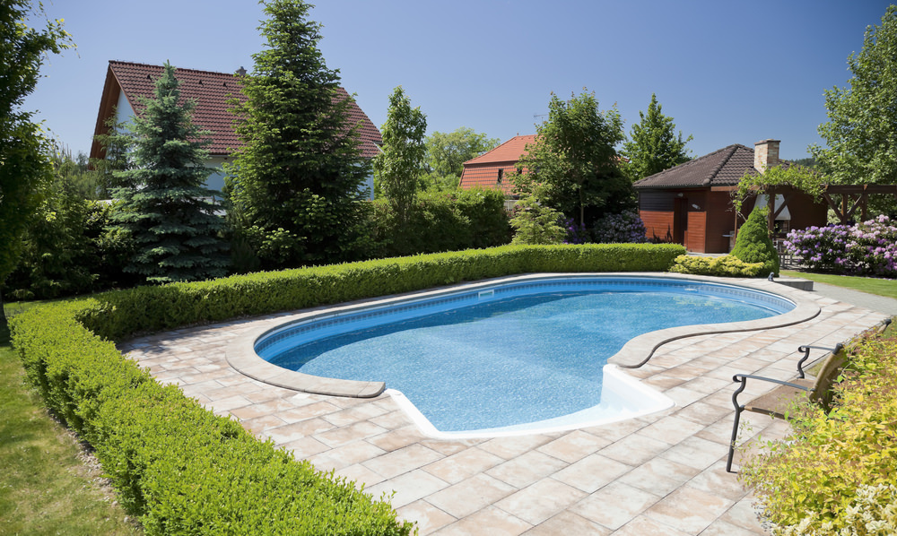 Here's a simple kidney-shaped pool with small patio bordered with hedge in a suburban backyard.