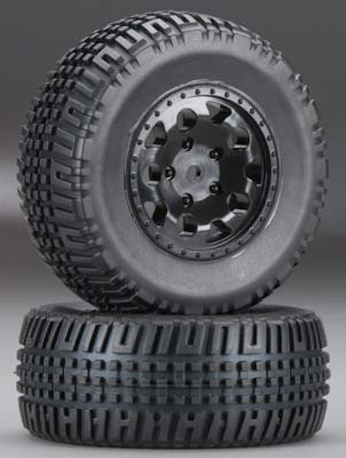 Associated-91104-KMC-Hex-Black-Wheels-Tires-2-SC10-4x4-New