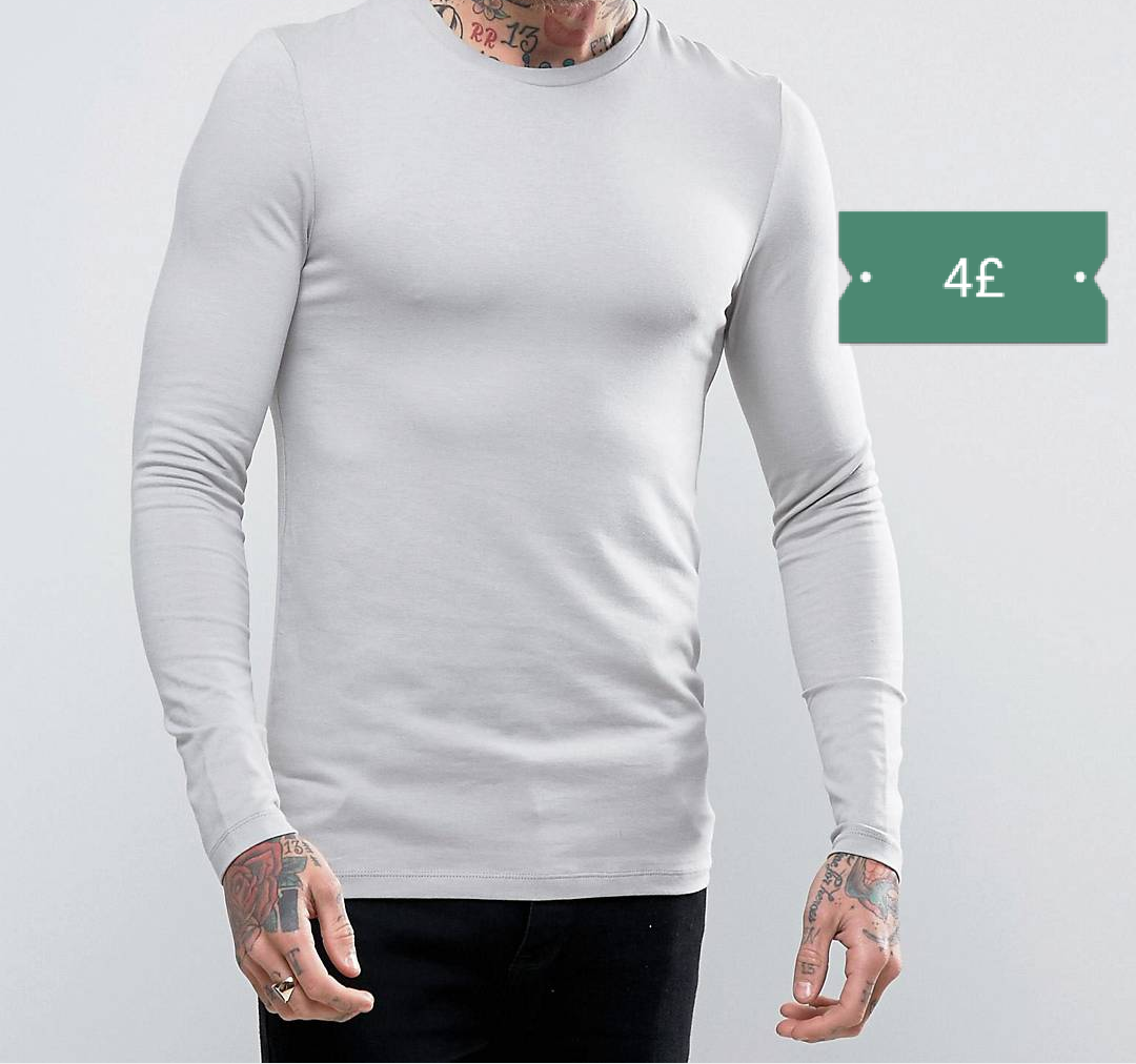 Asos Extreme Muscle Long Sleeve T-shirt in Grey