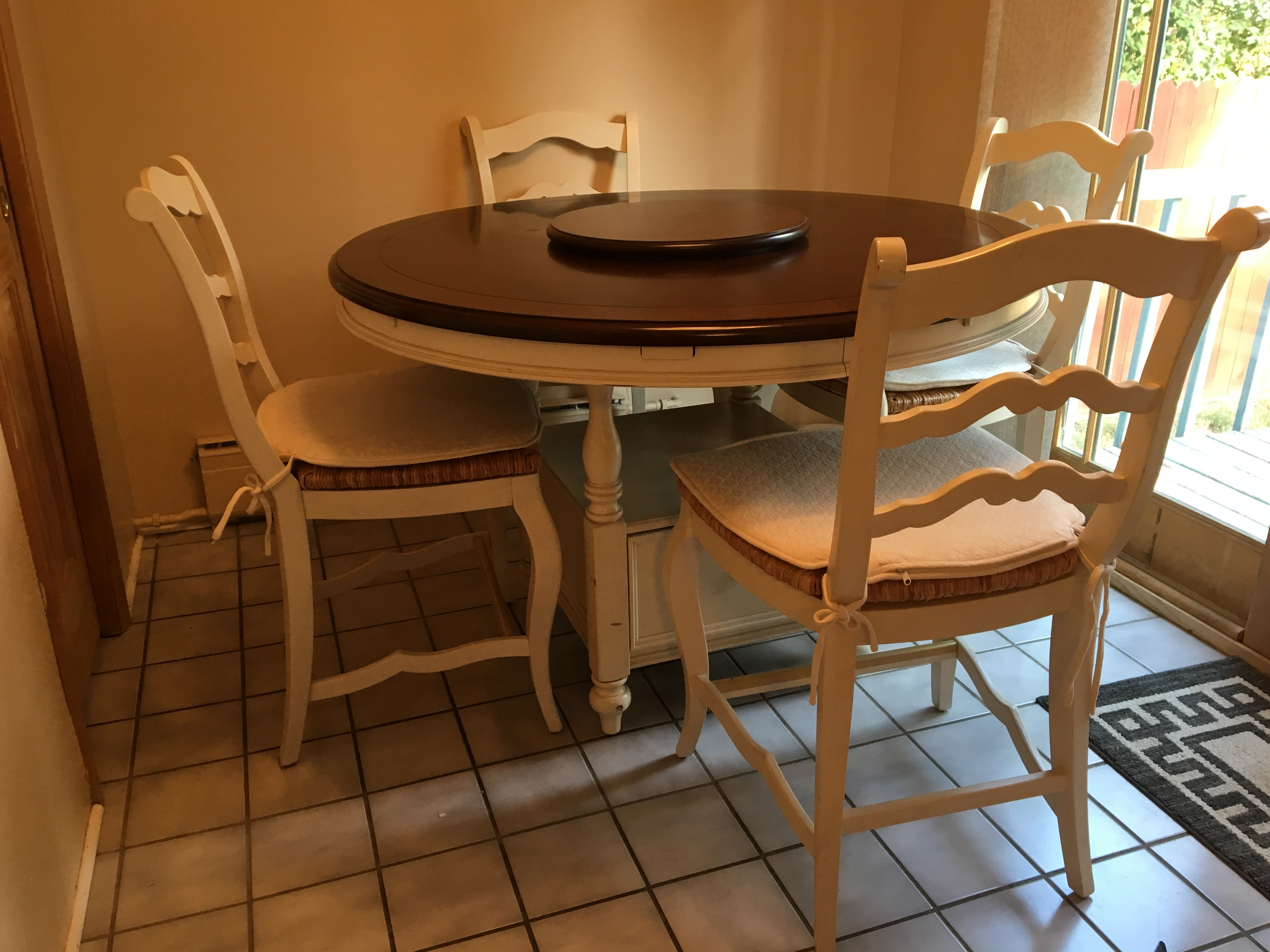 Farmhouse Counter Height Table, leaves & 8 chairs