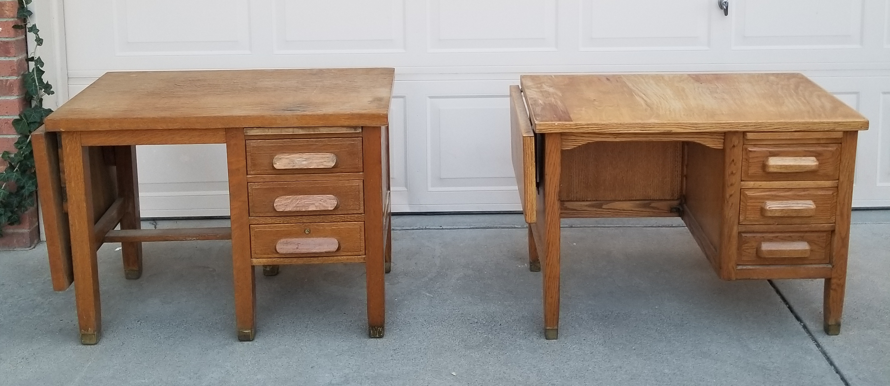 2 Antique Solid Oak Short Desks