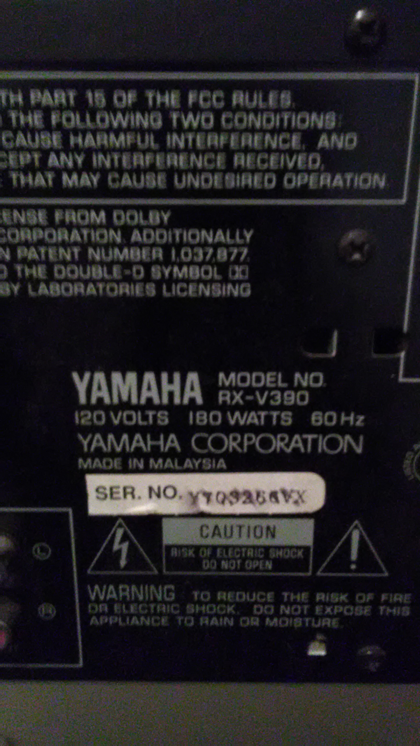 Yamaha hd natural sound stereo receiver