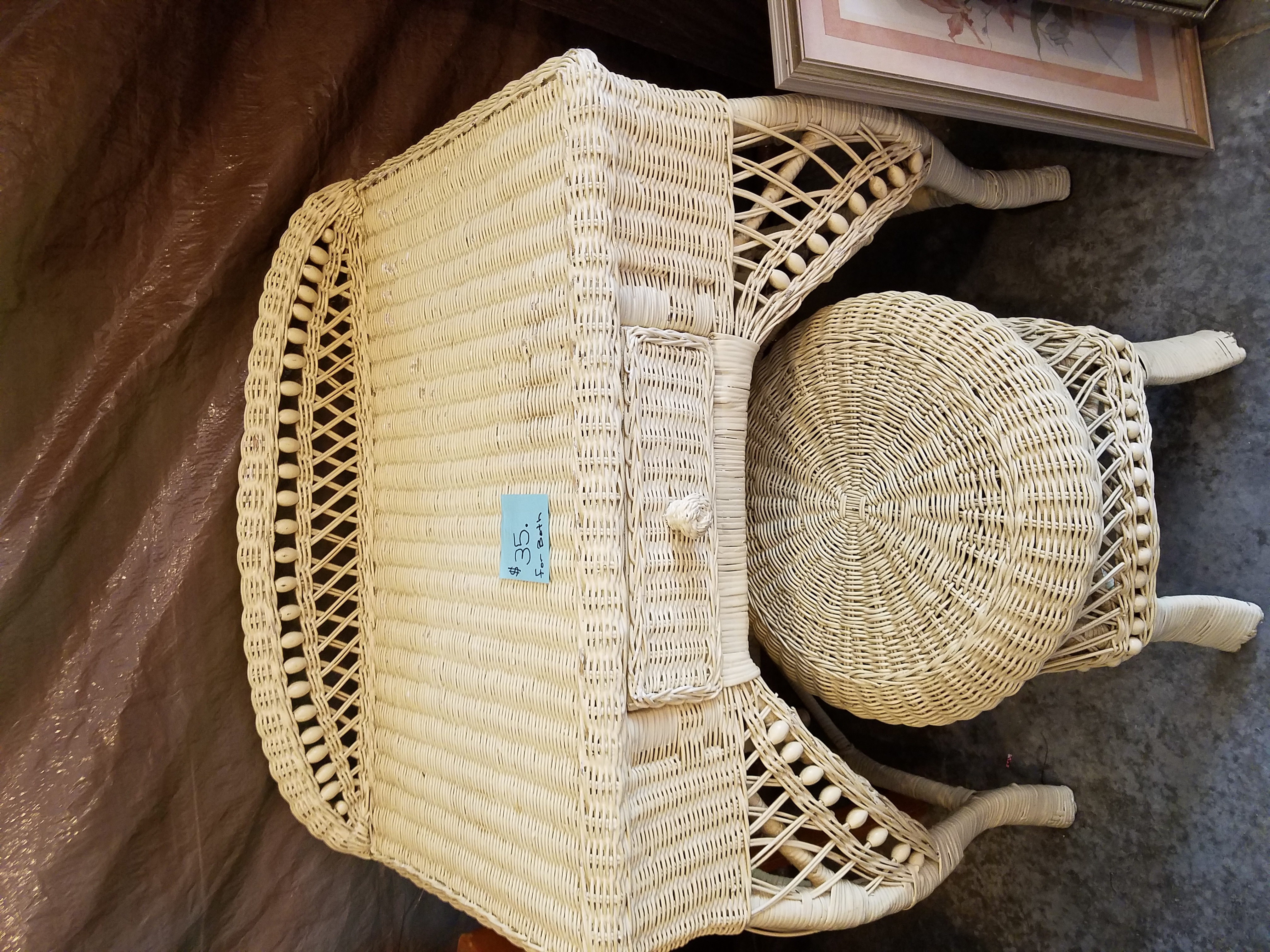 Wicker desk and stool