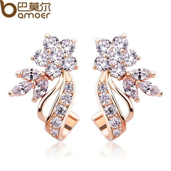 BAMOER Gold Color Stud Earrings Flower Shape