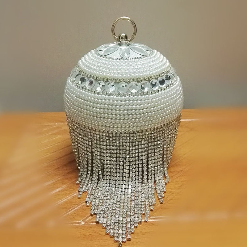 Gold Tassel Silver Beaded Pearls Clutch Purse