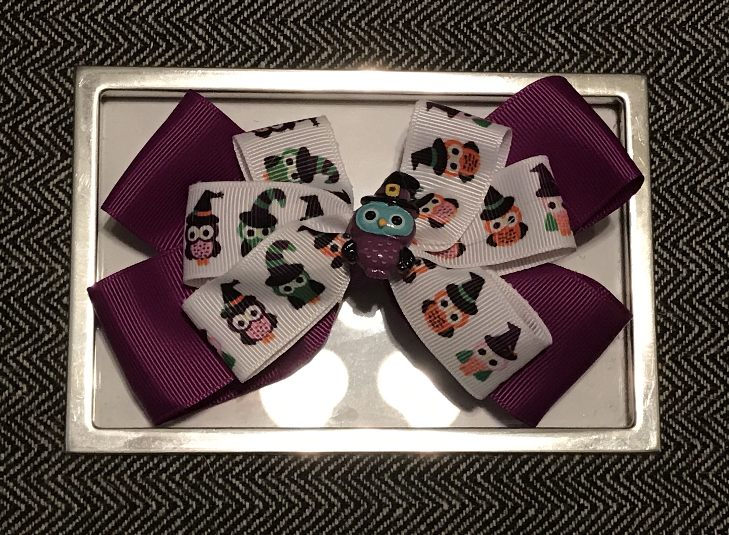 Purple Owl-O-Ween bow