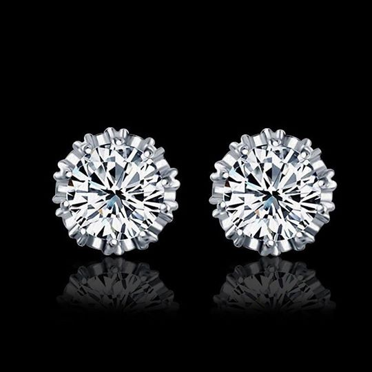 Fashion Round Shape 2 Carat Cubic Zircon CZ Crown Stud Earrings For Women