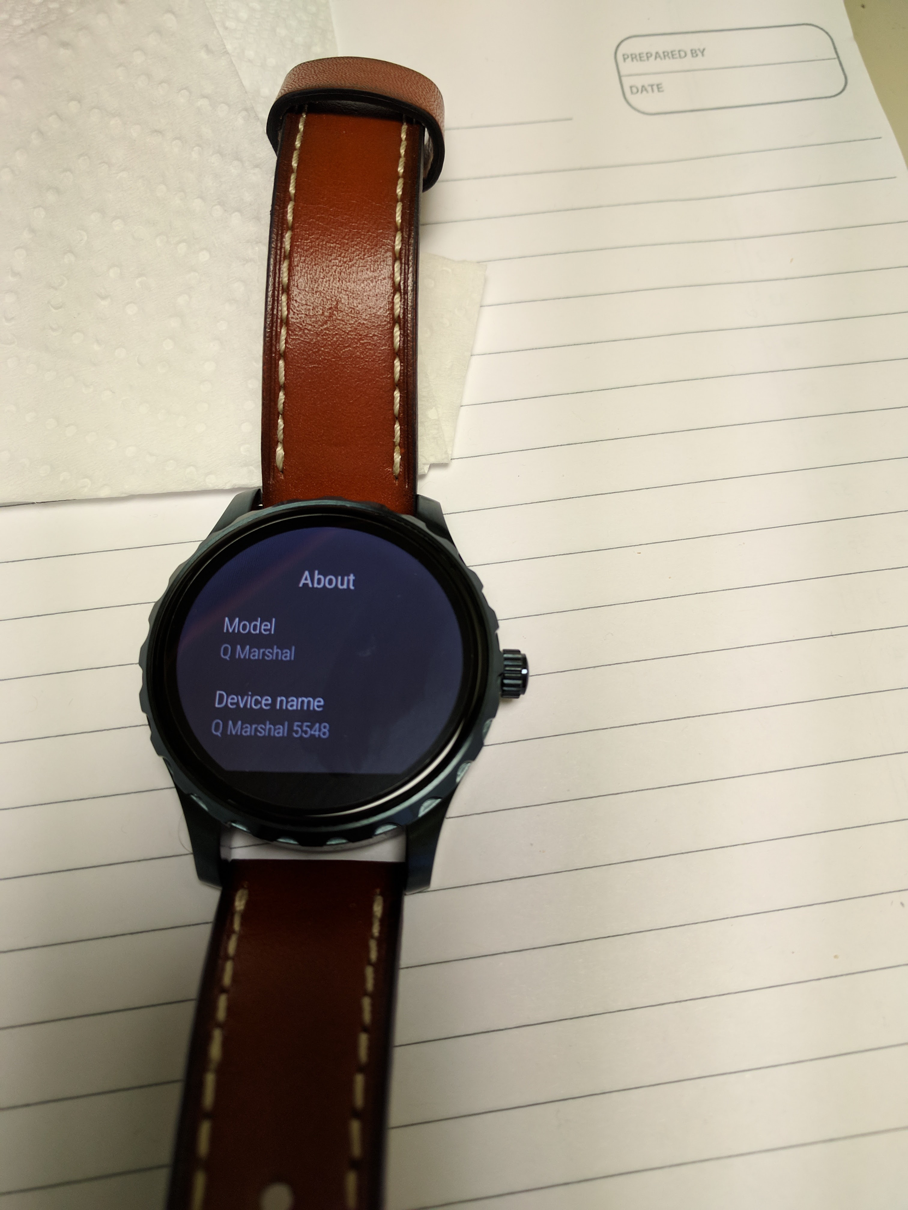 Fossil Q Wander Mint Condition: Blue watch and Brown leather (Smart Watch) Android Wear 2.0