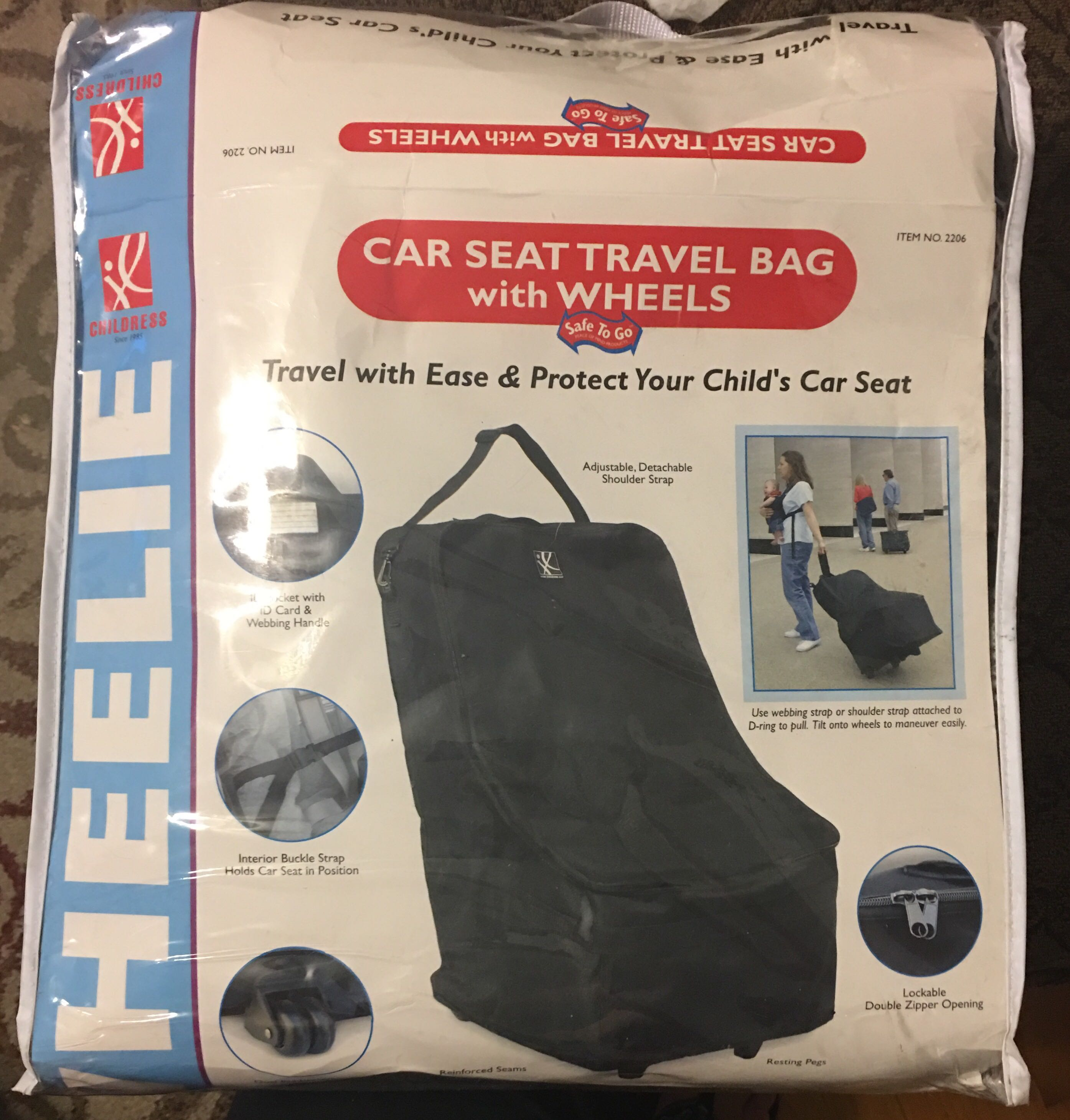 Car seat travel bag with wheels