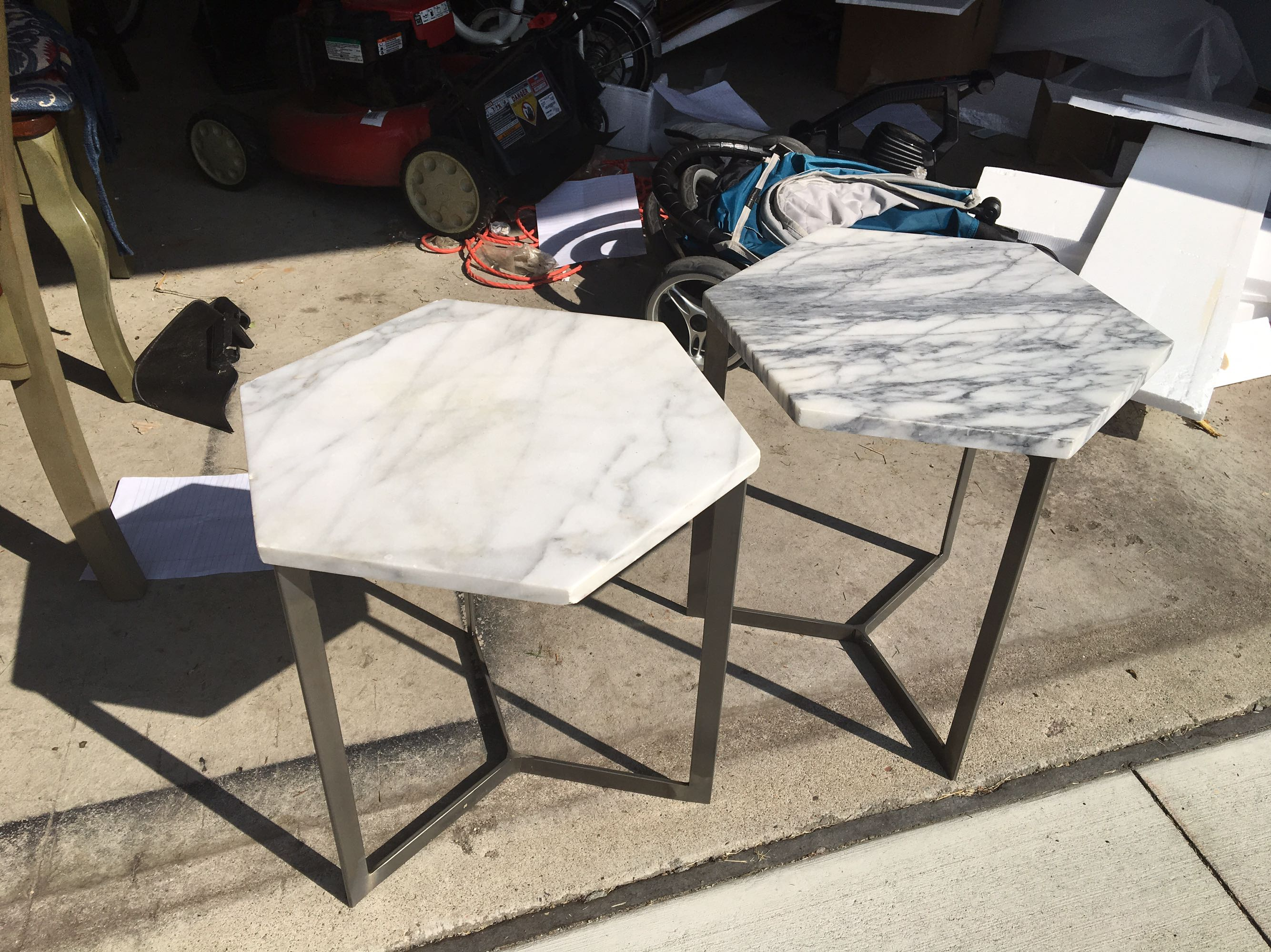 Two white marble hexagon accent/coffee tables