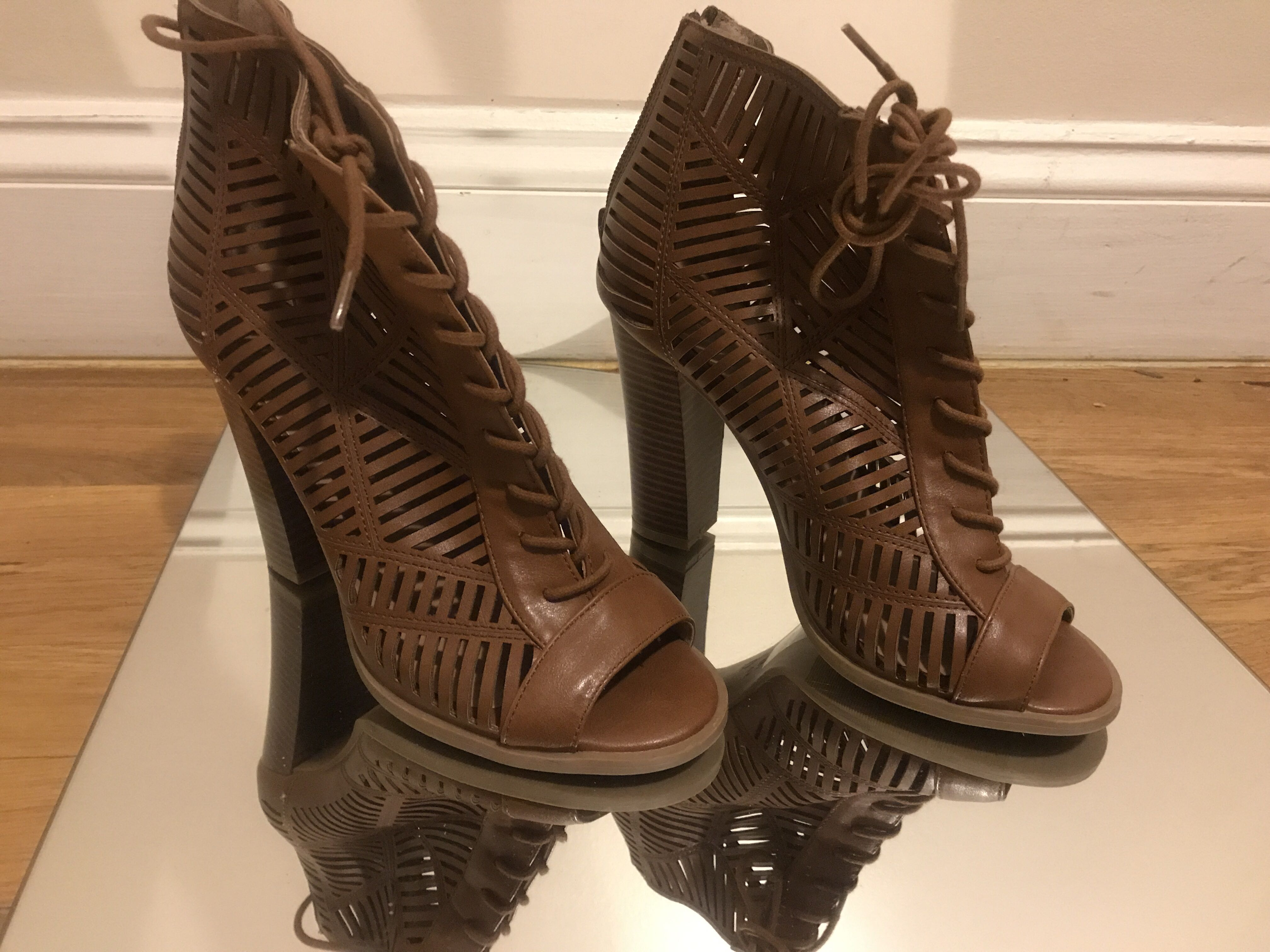 Brown Leather Mix 6 Heel