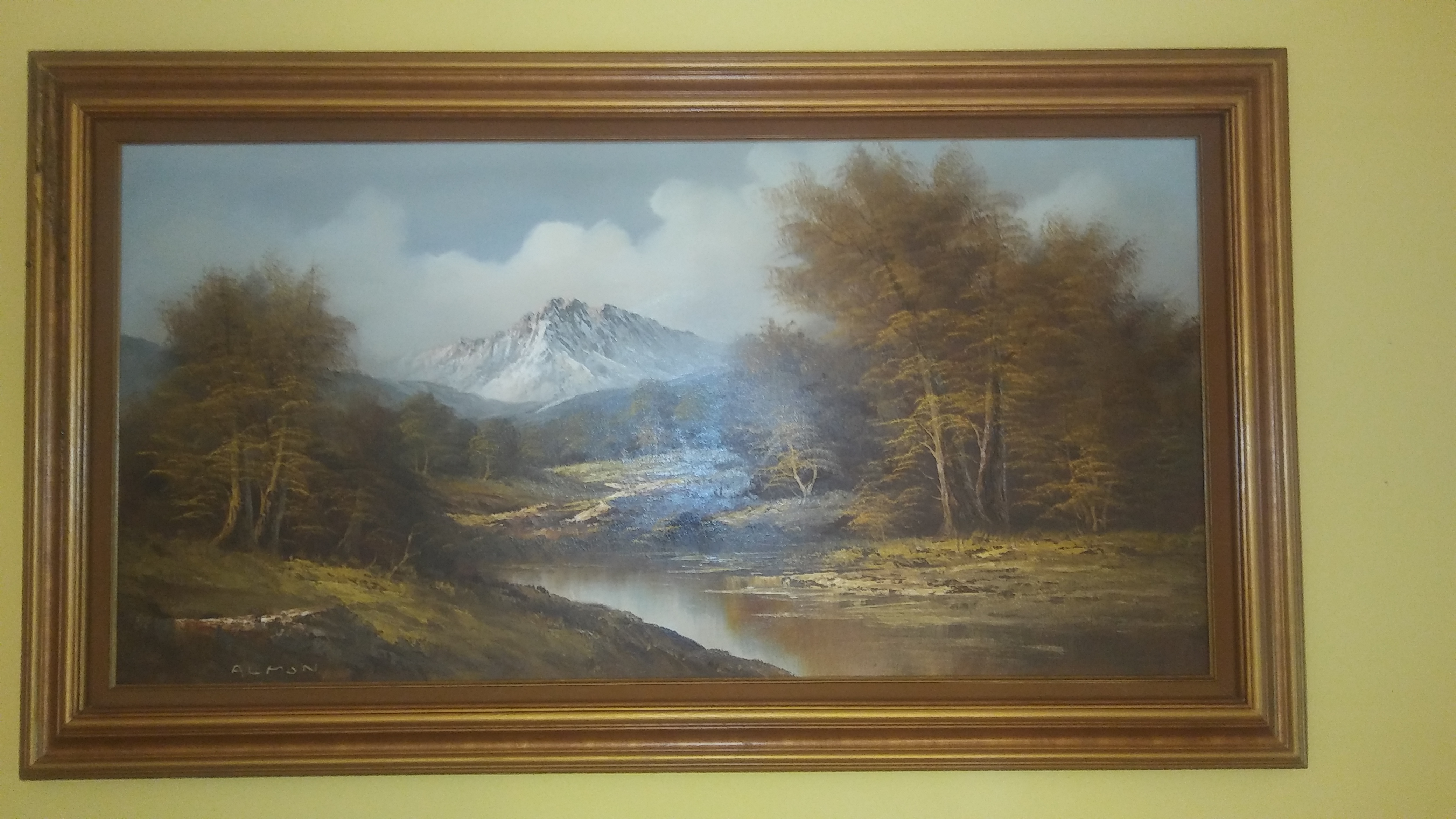 Large Oil Canvas Painting signed by Almon