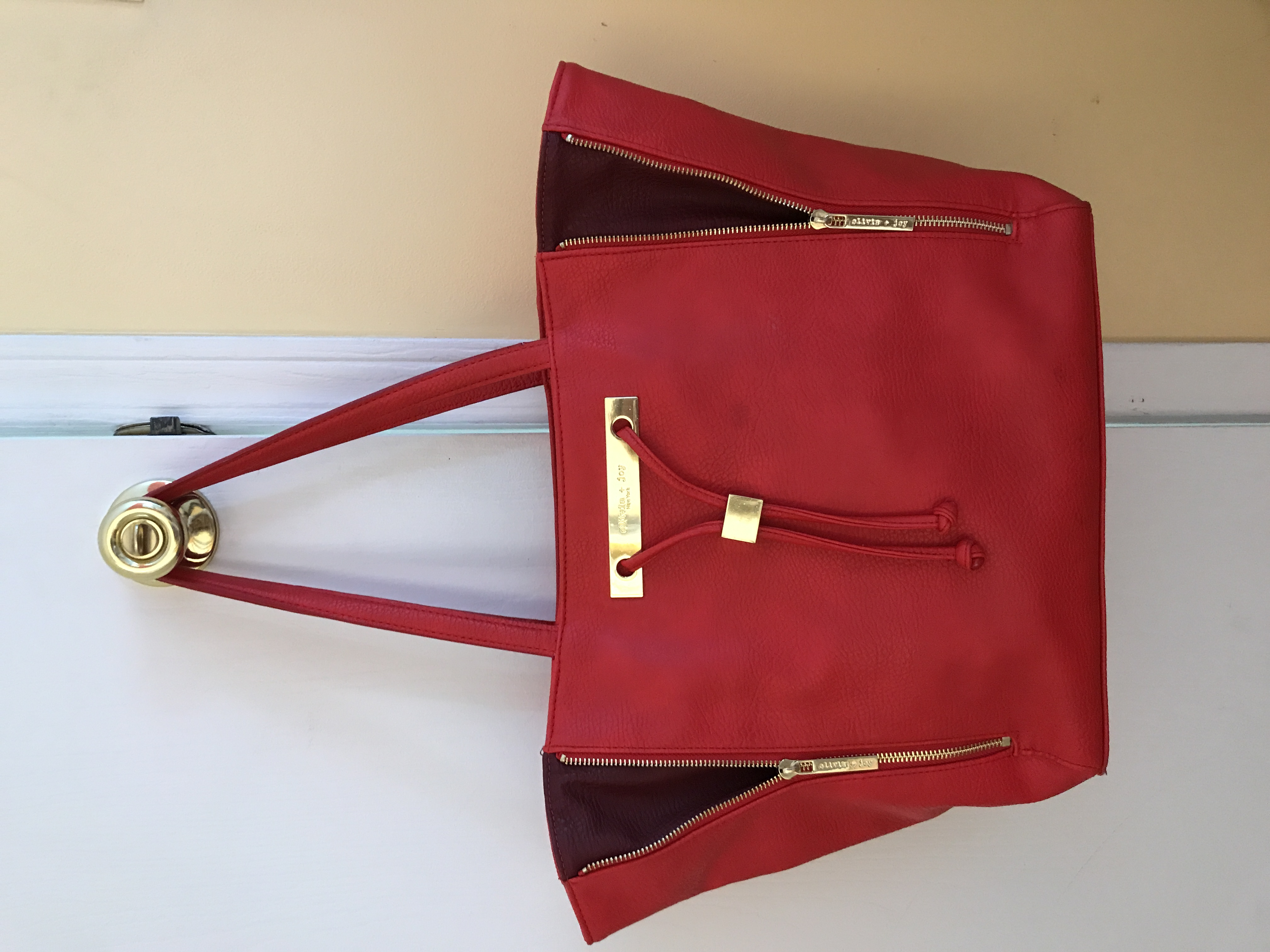 Olivia and Joy, Red leather tote