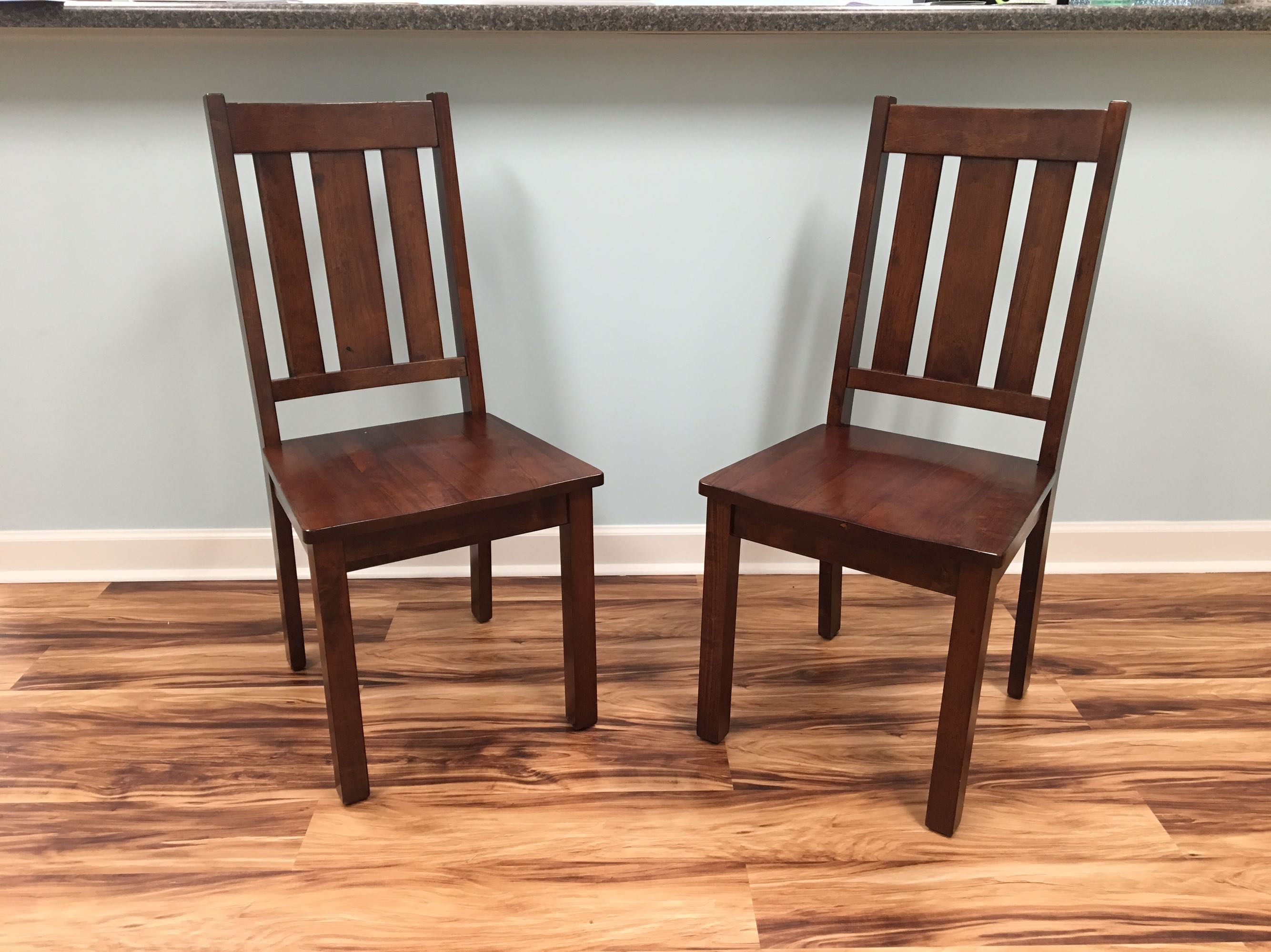 Solid wood chairs. Perfect condition. $45 for the set