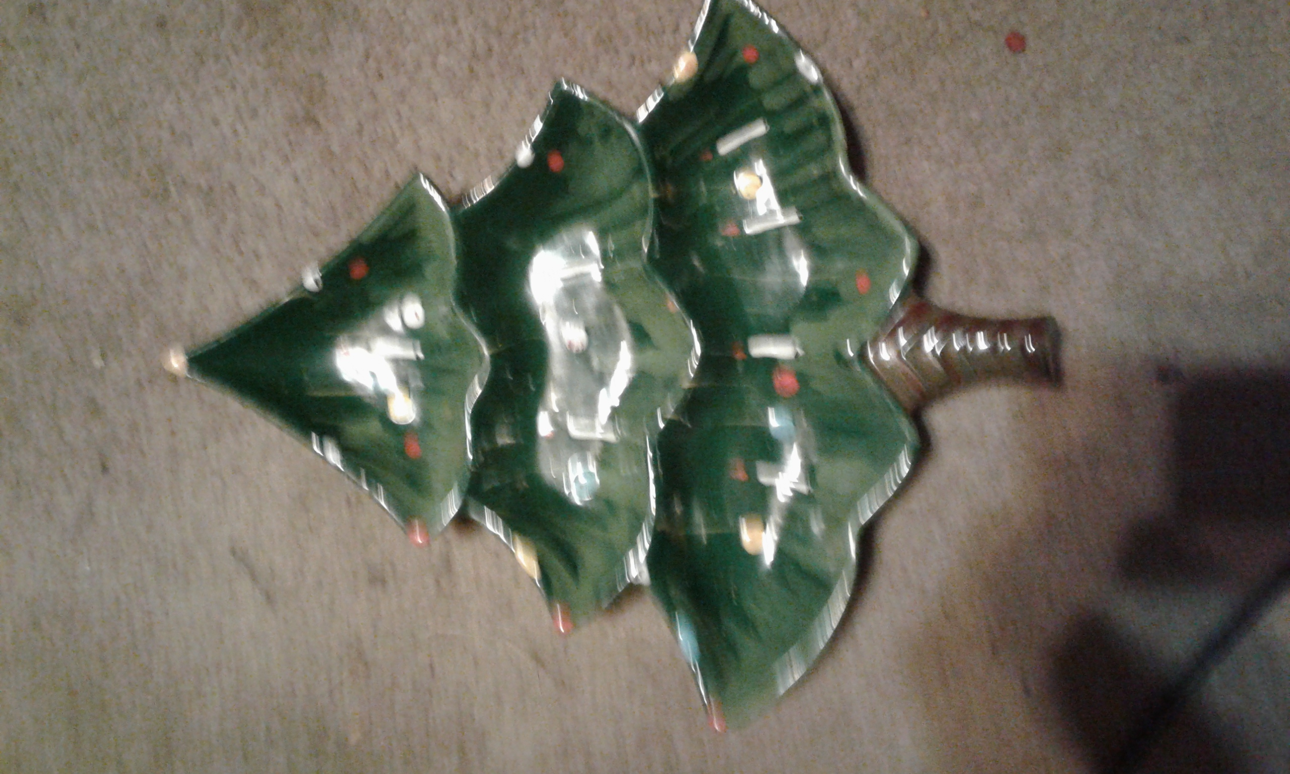 For Christmas dishes, one Christmas tree to put candies in.
