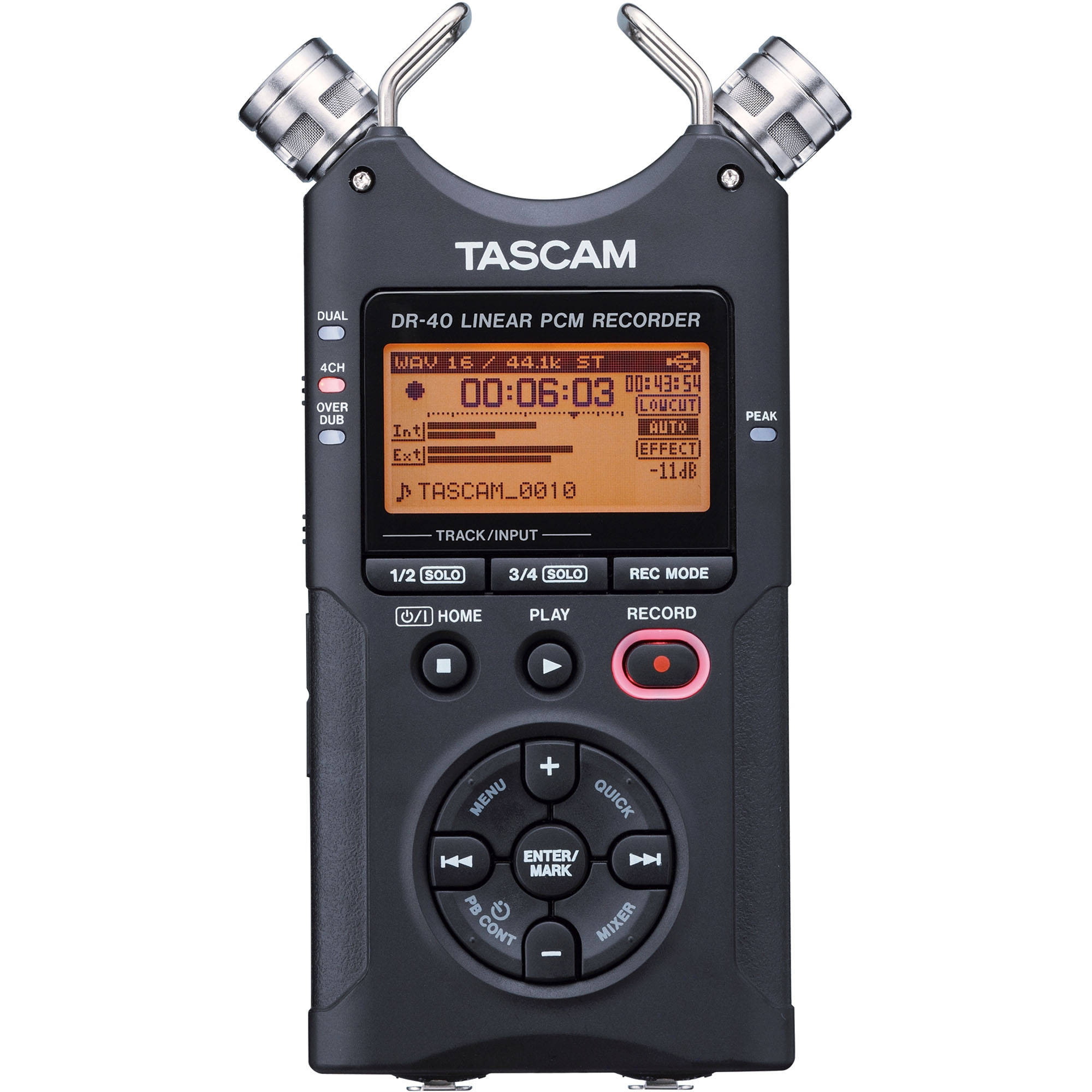 New, Never Used, TASCAM DR-40 Portable Digital 24 bit 4 Track Recorder plus Accessories Package