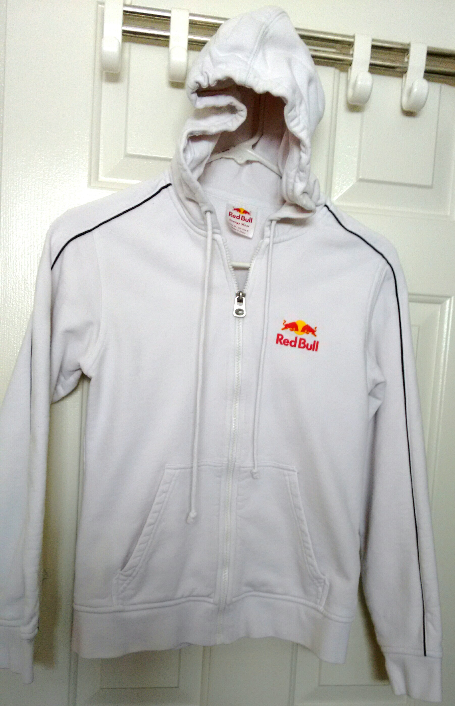 Red Bull White Cotton Hoodie (Size: S-M)