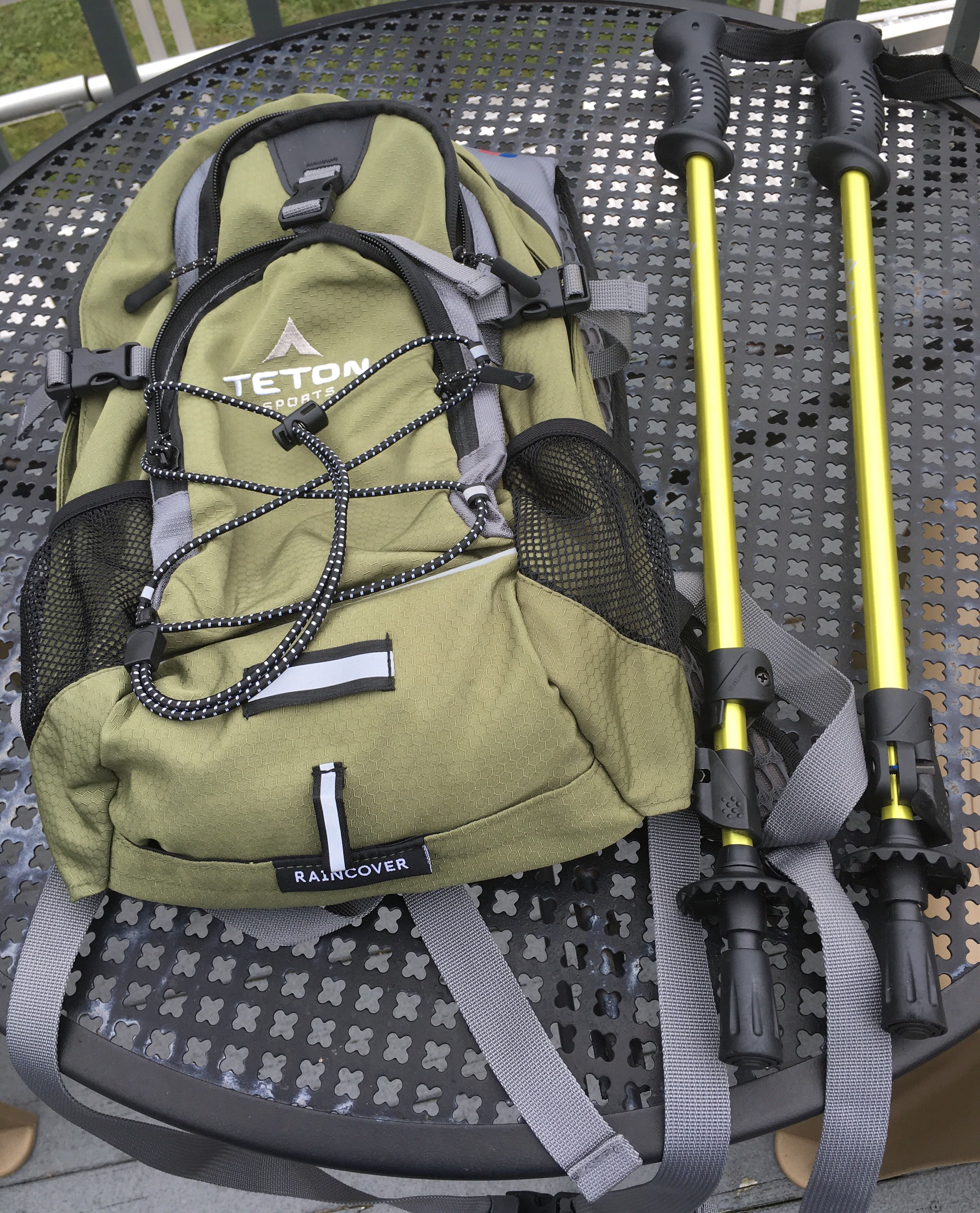 Teton Sports Hydration Backpack and Hiking Poles