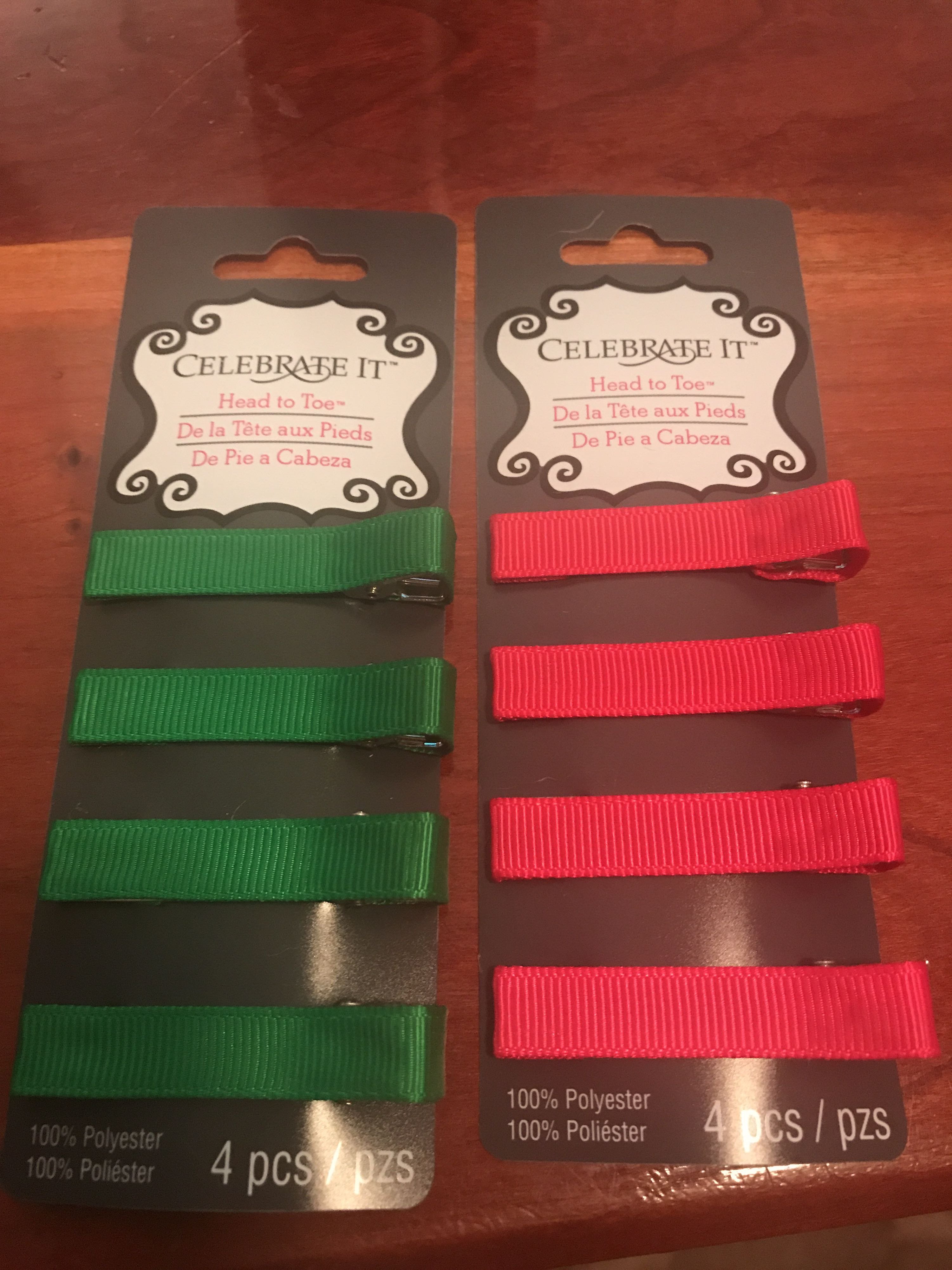 Pink and Green hair clips
