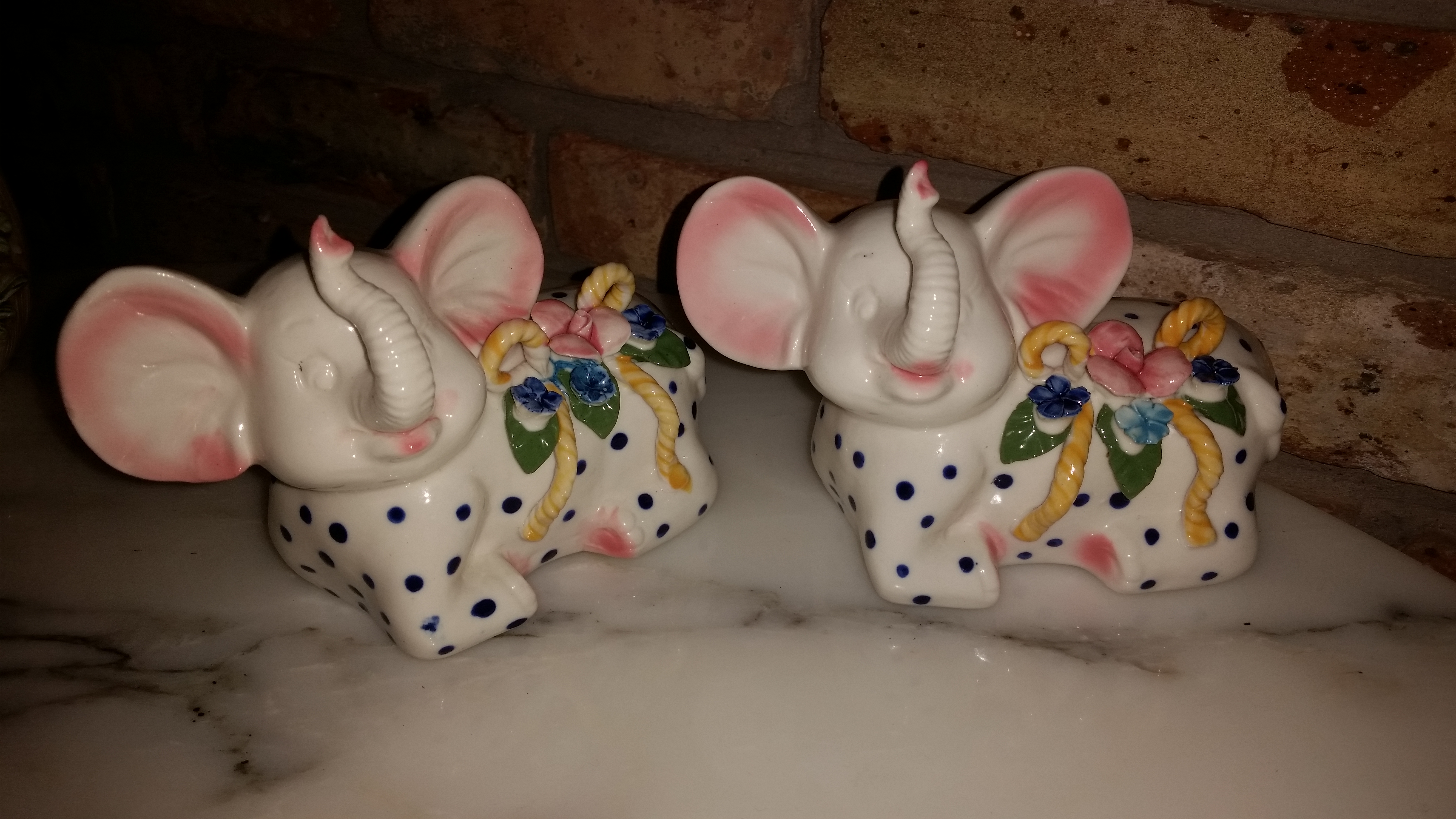Matching (two) adorable vintage elephant babies