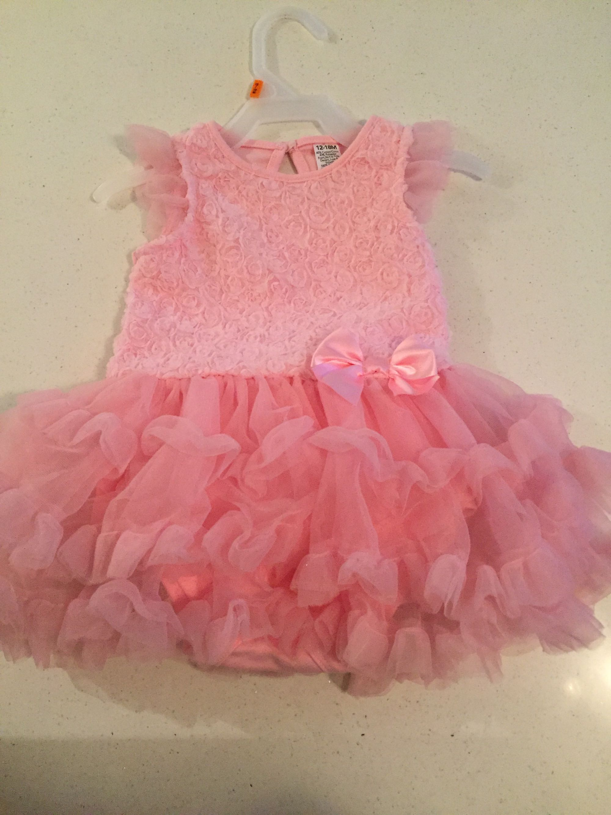 Brand new pink ruffled 12-18 month baby dress