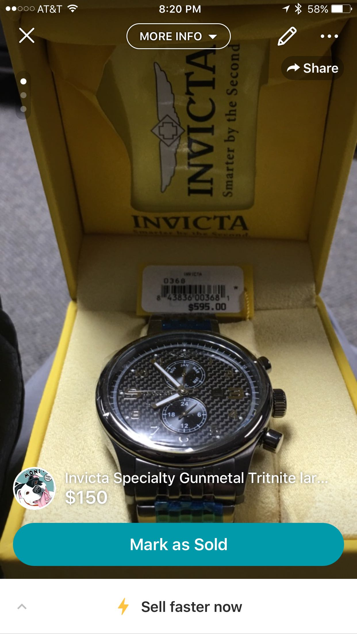 Invicta Specialty Gunmetal Tritnite large face