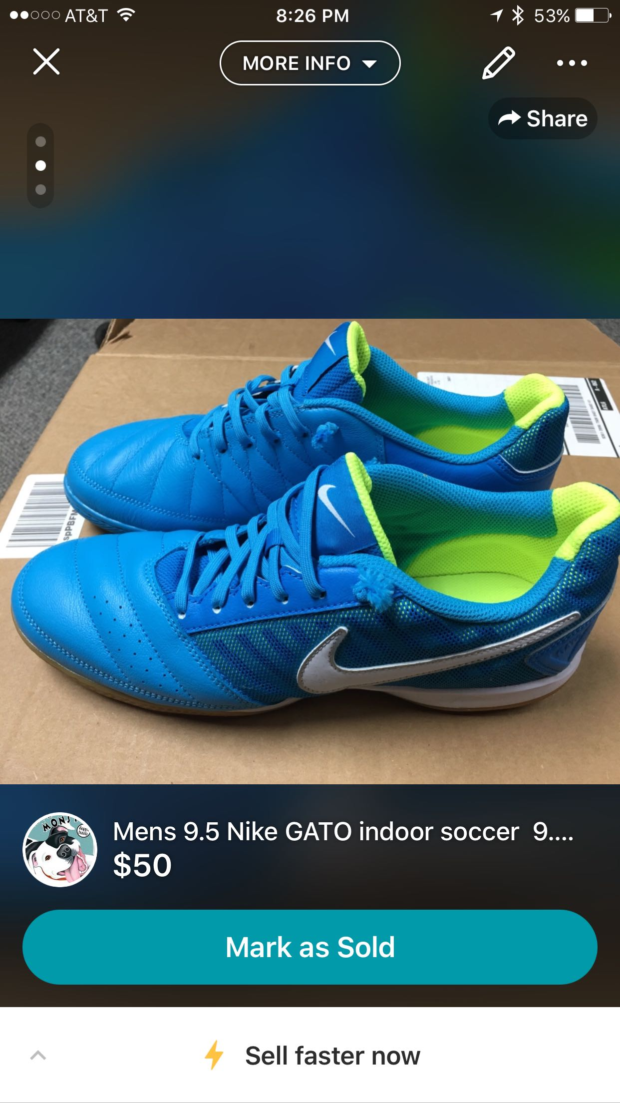 Mens 9.5 Nike GATO indoor soccer 9.5/10