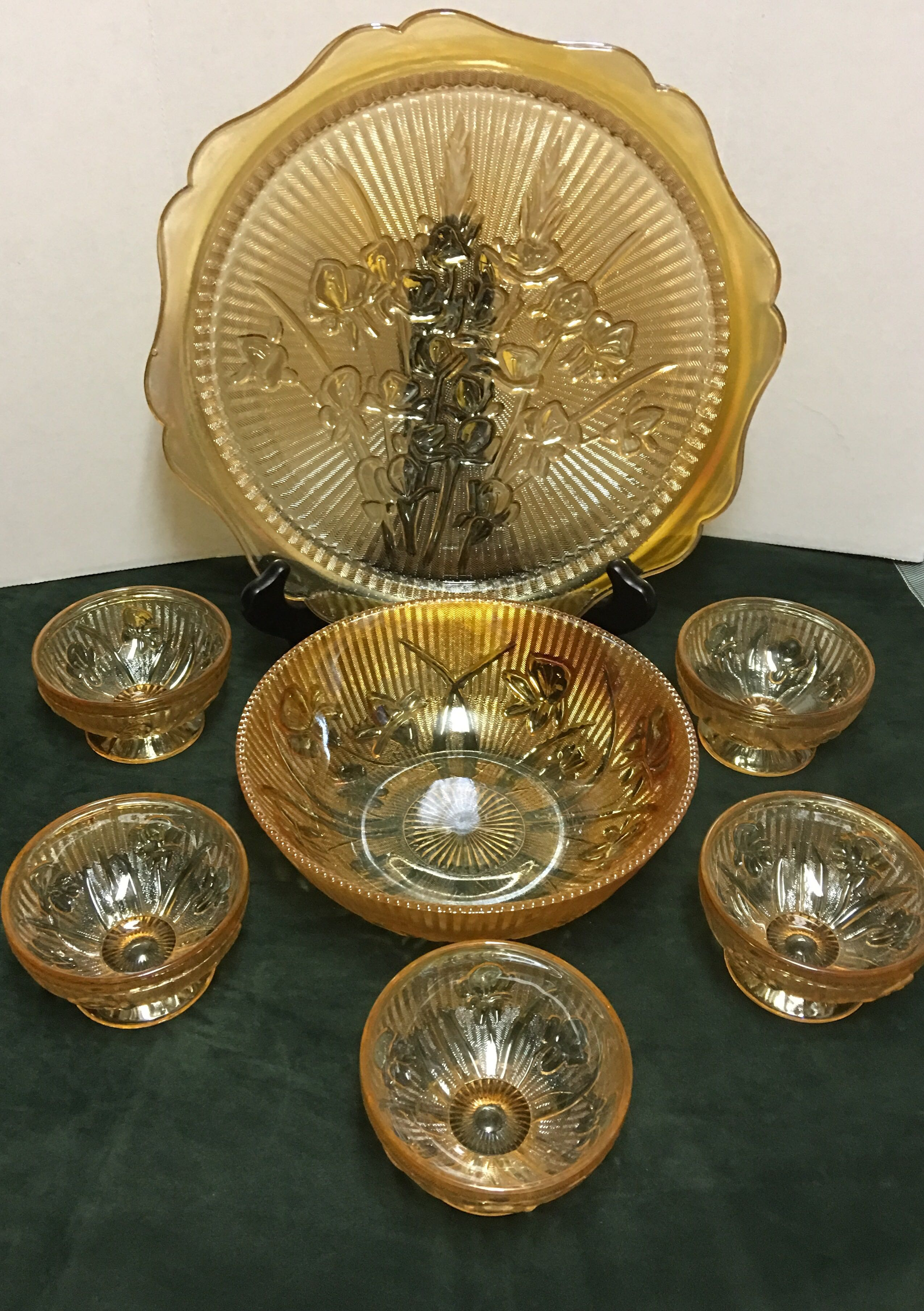 Vintage Jeanette Glass Company - Marigold Iris and Herringbone Embossed Carnival Glass