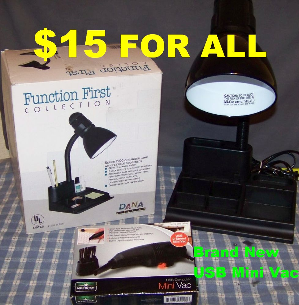 Like New Gooseneck Desk Lamp & Brand New Meridian Point USB Powered Mini Vacuum. Details Below