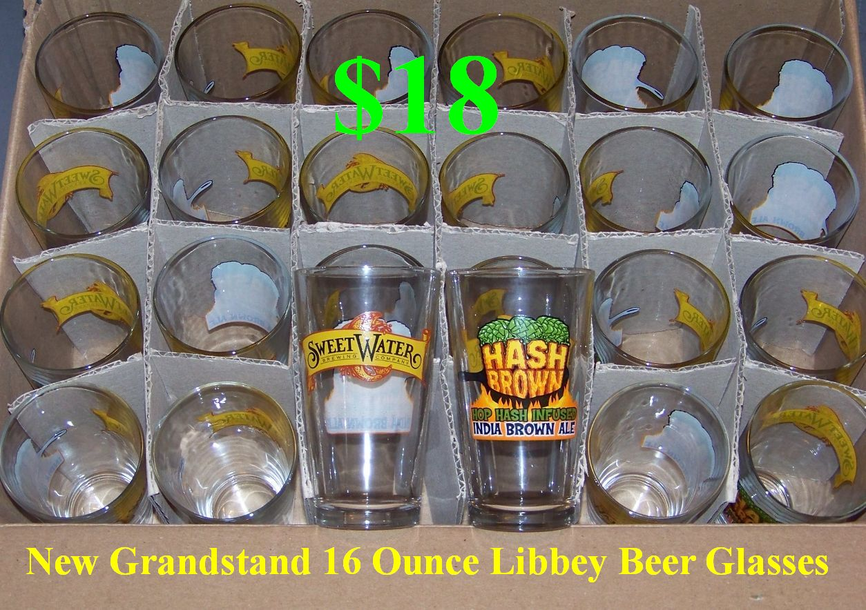 24 Brand New Grandstand 16 Ounce Libbey Beer Glasses. Perfect for Game Day, Bars, or Just to Collect