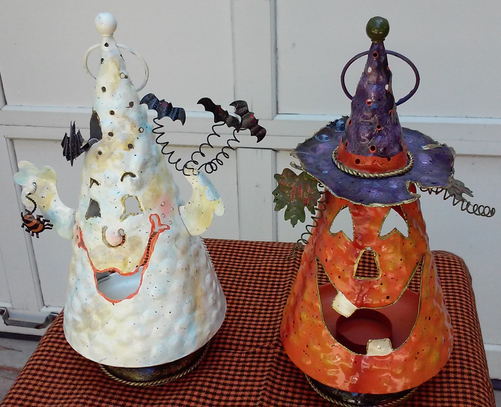 Pair of Halloween Painted Metal Tealight Candle Lanterns - Ghost and Jack-O-Lantern