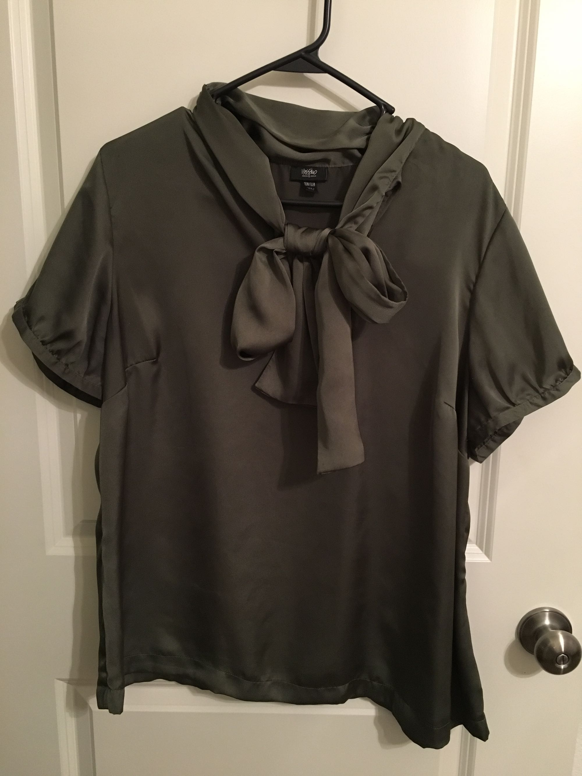 Olive Green Silk Shirt, size 16w/18w
