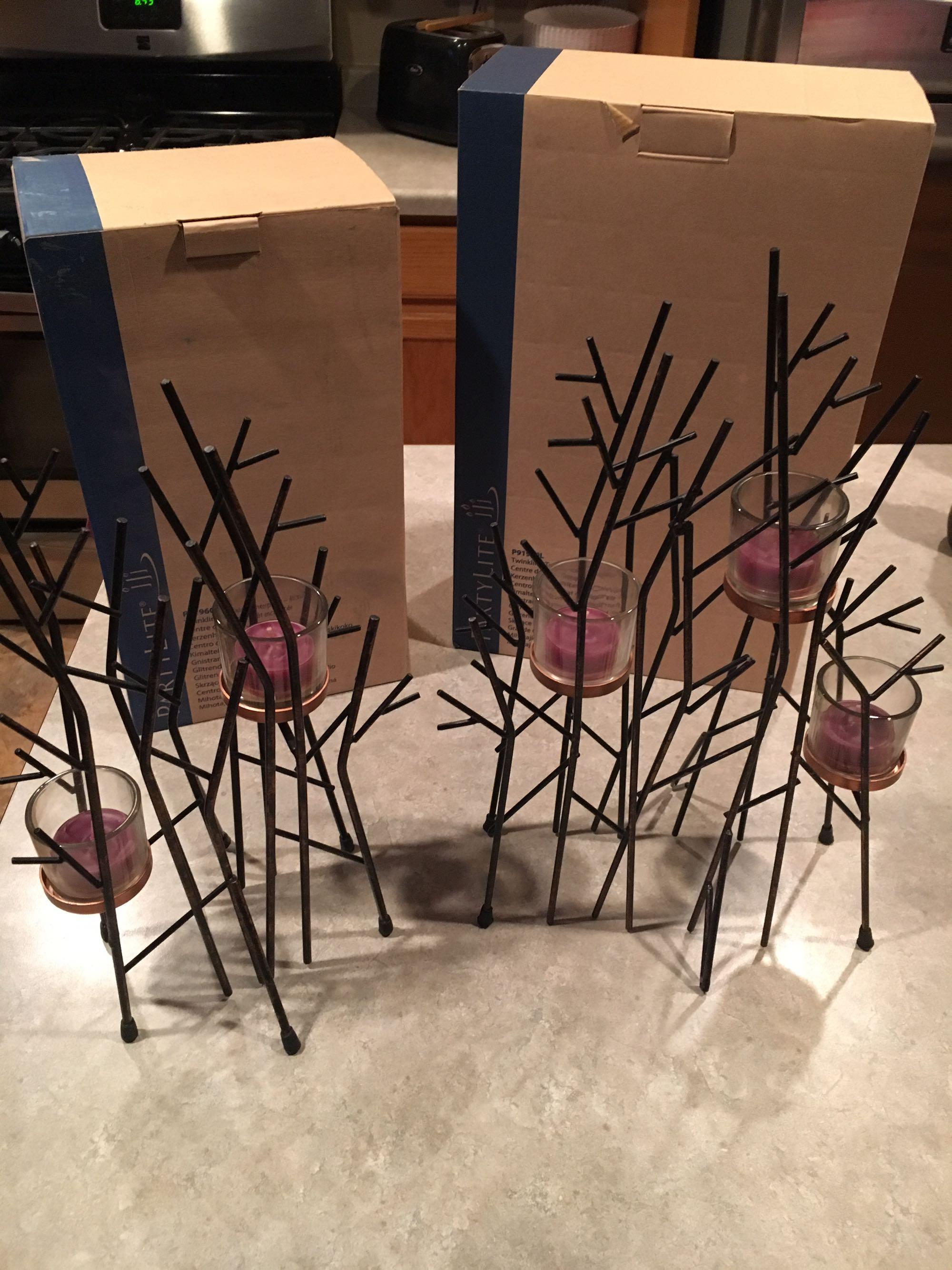 Partylite Twinkling Twigs Centerpiece Set nib