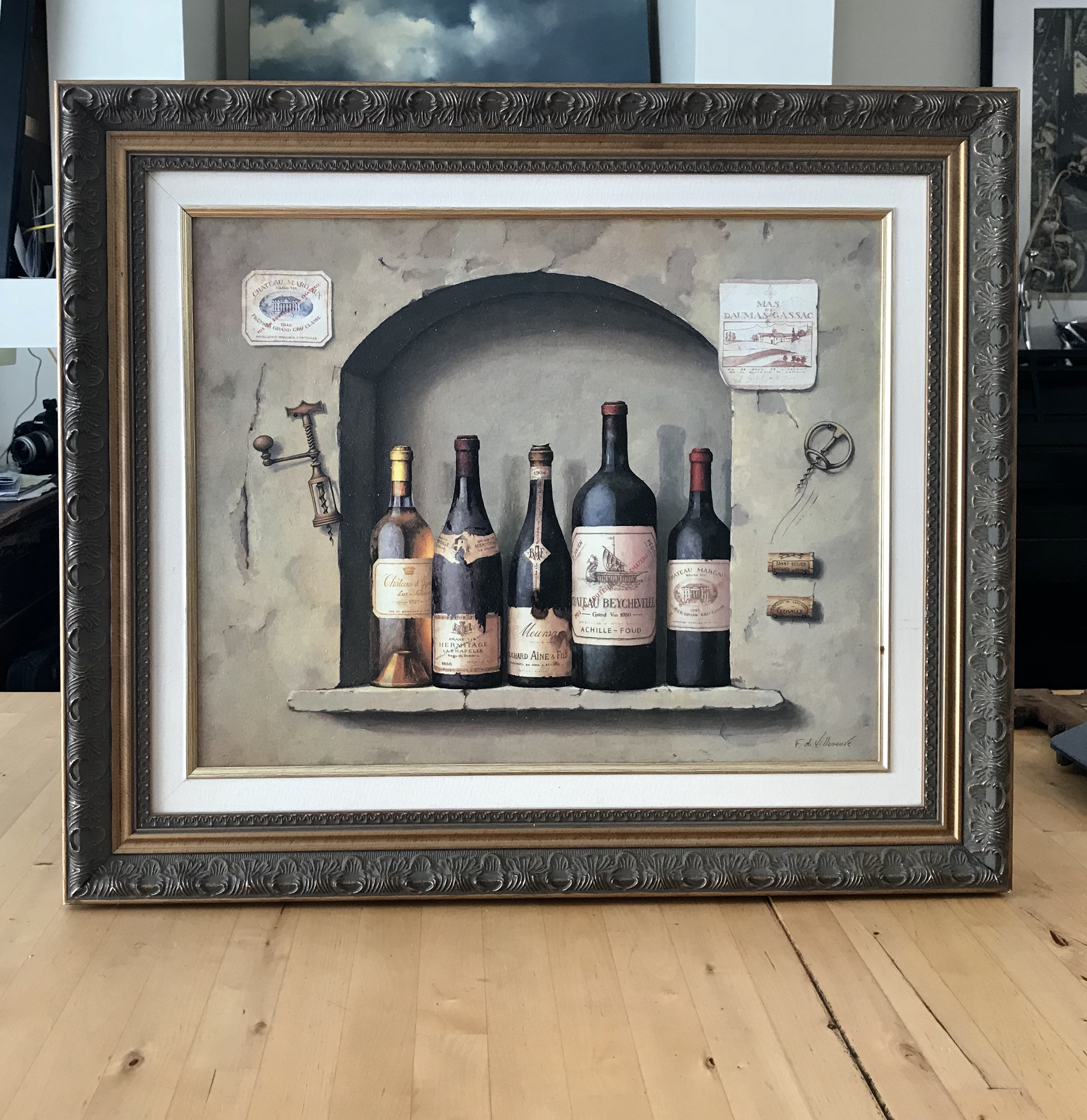 Framed painting of old and great French wine bottles