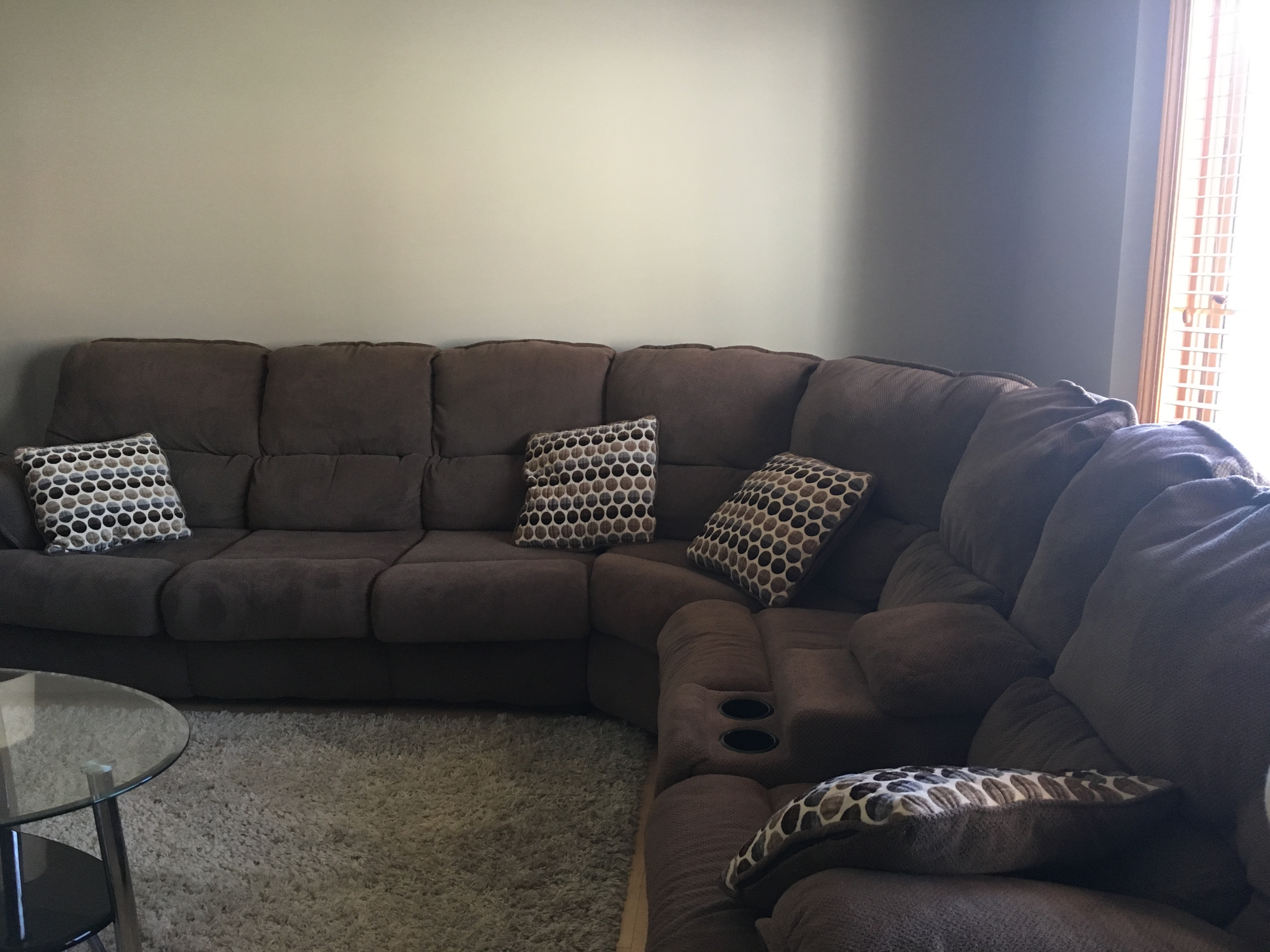 Sectional with sofa bed and recliners