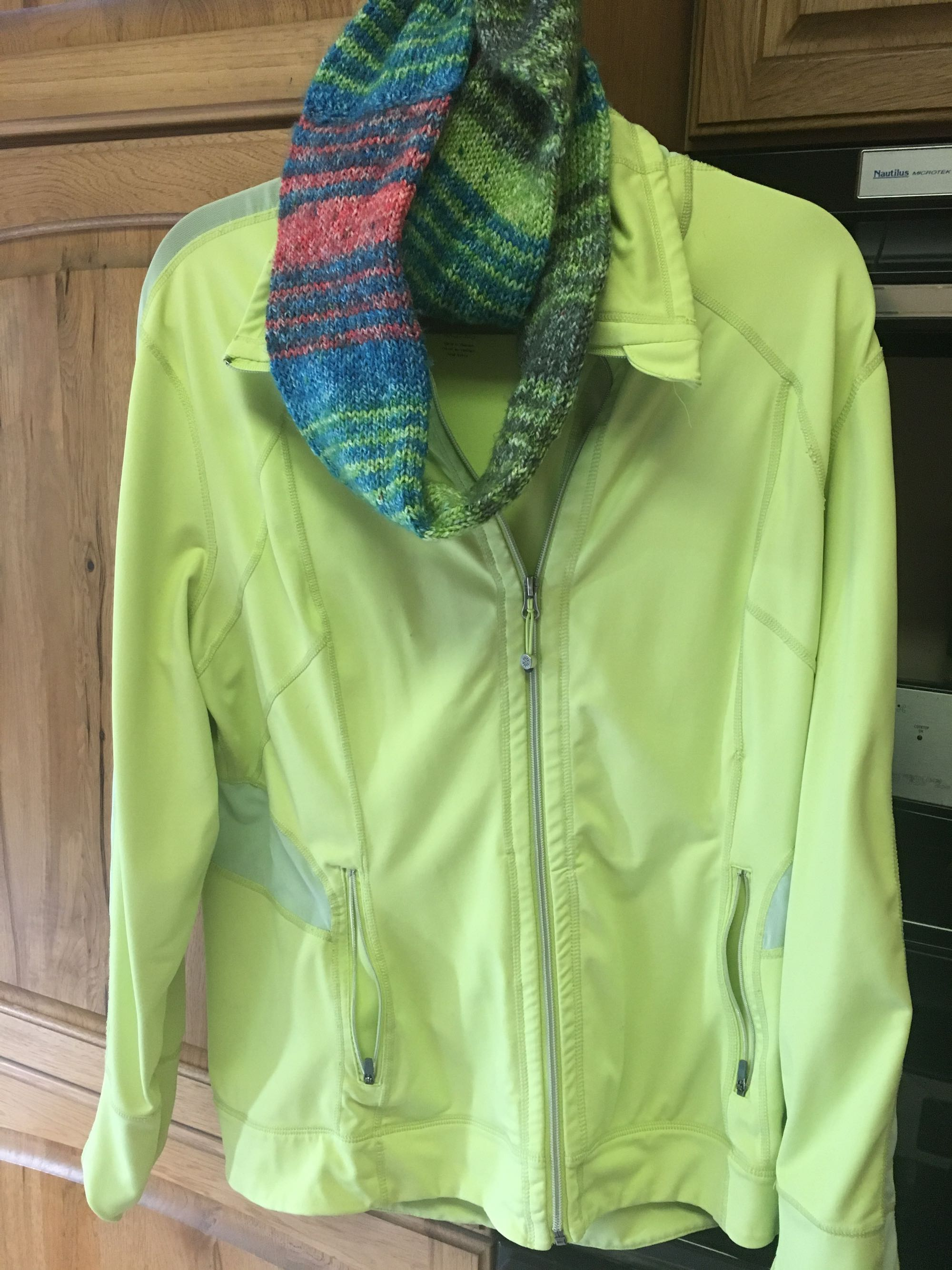 Lime green Tangerine stretchy zip up w/ thin holes no holes or stain X XL w/ infinity scarf
