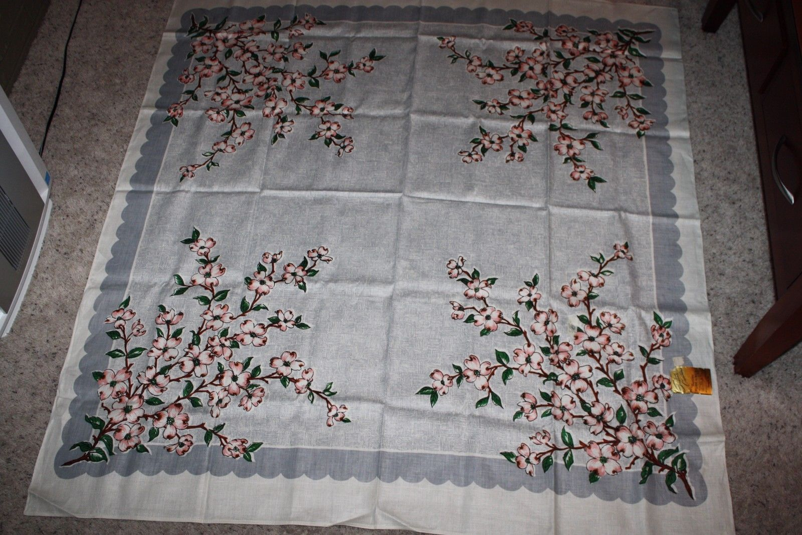 VINTAGE LINEN TABLECLOTH PINK WHITE DOGWOOD MID CENTURY 52X52