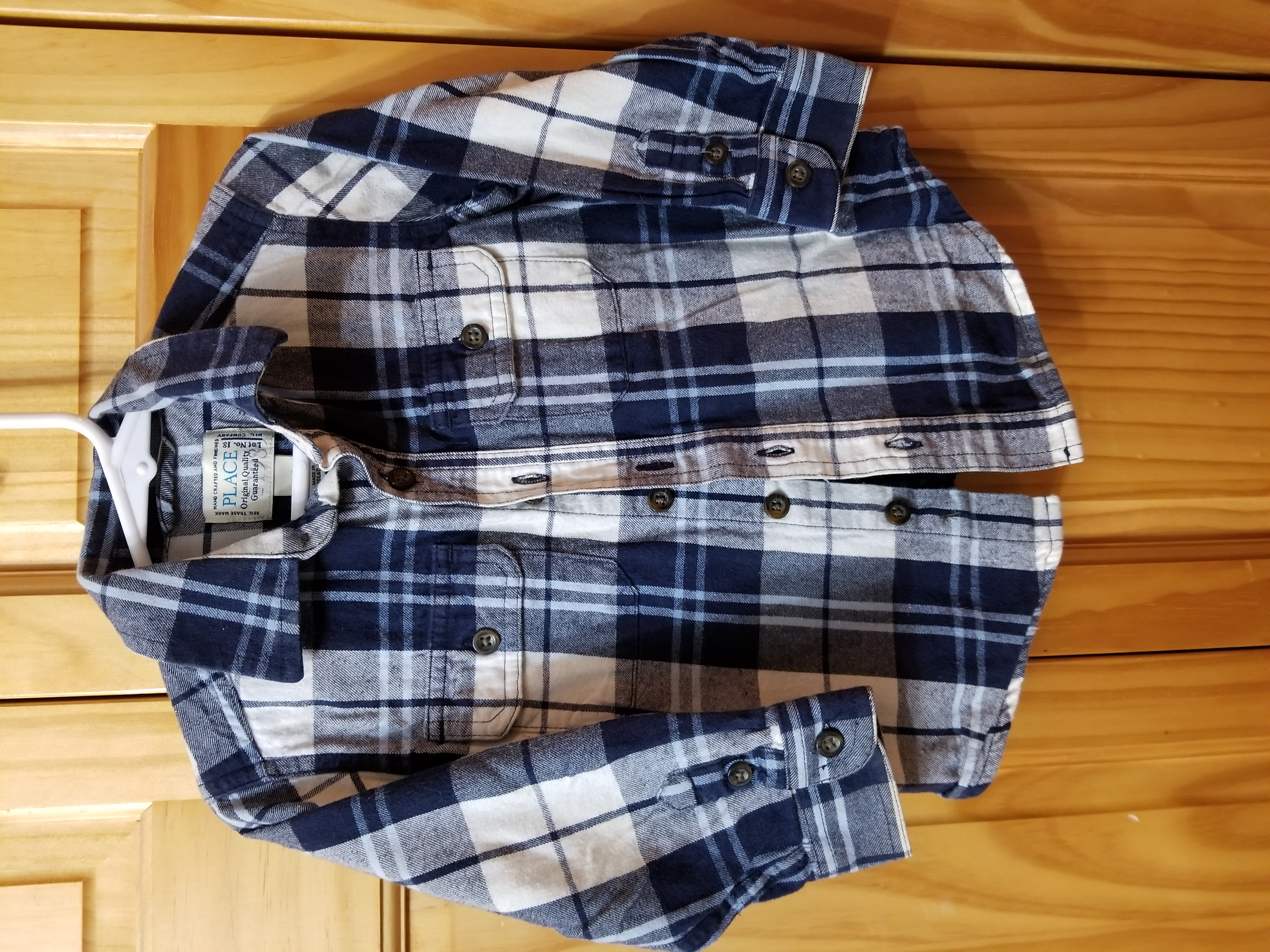 Size 24 month (Children's Place) Plaid Flannel. Excellent Condition. Smoke Free Home.