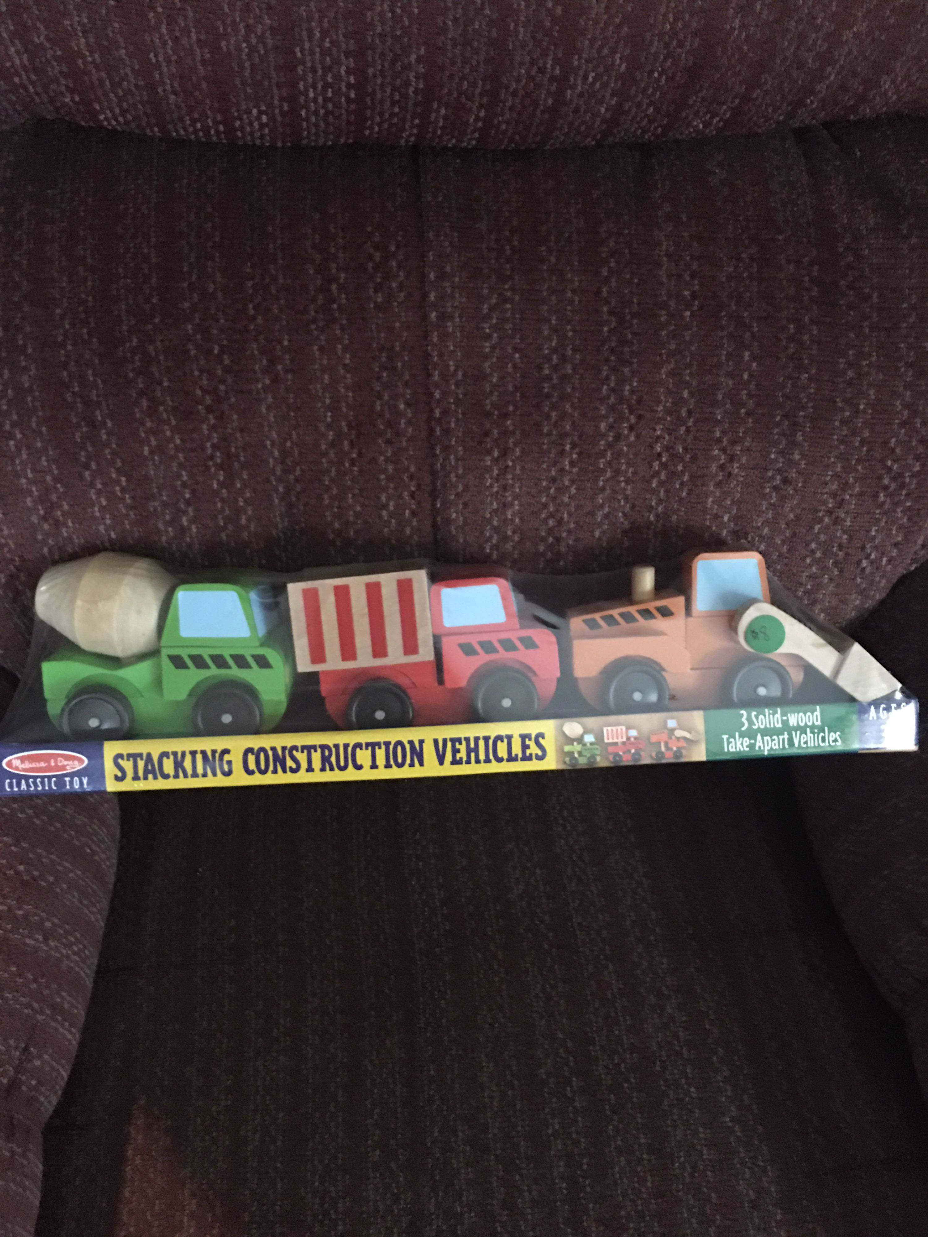 Melissa and Doug brand new stacking construction vehicles