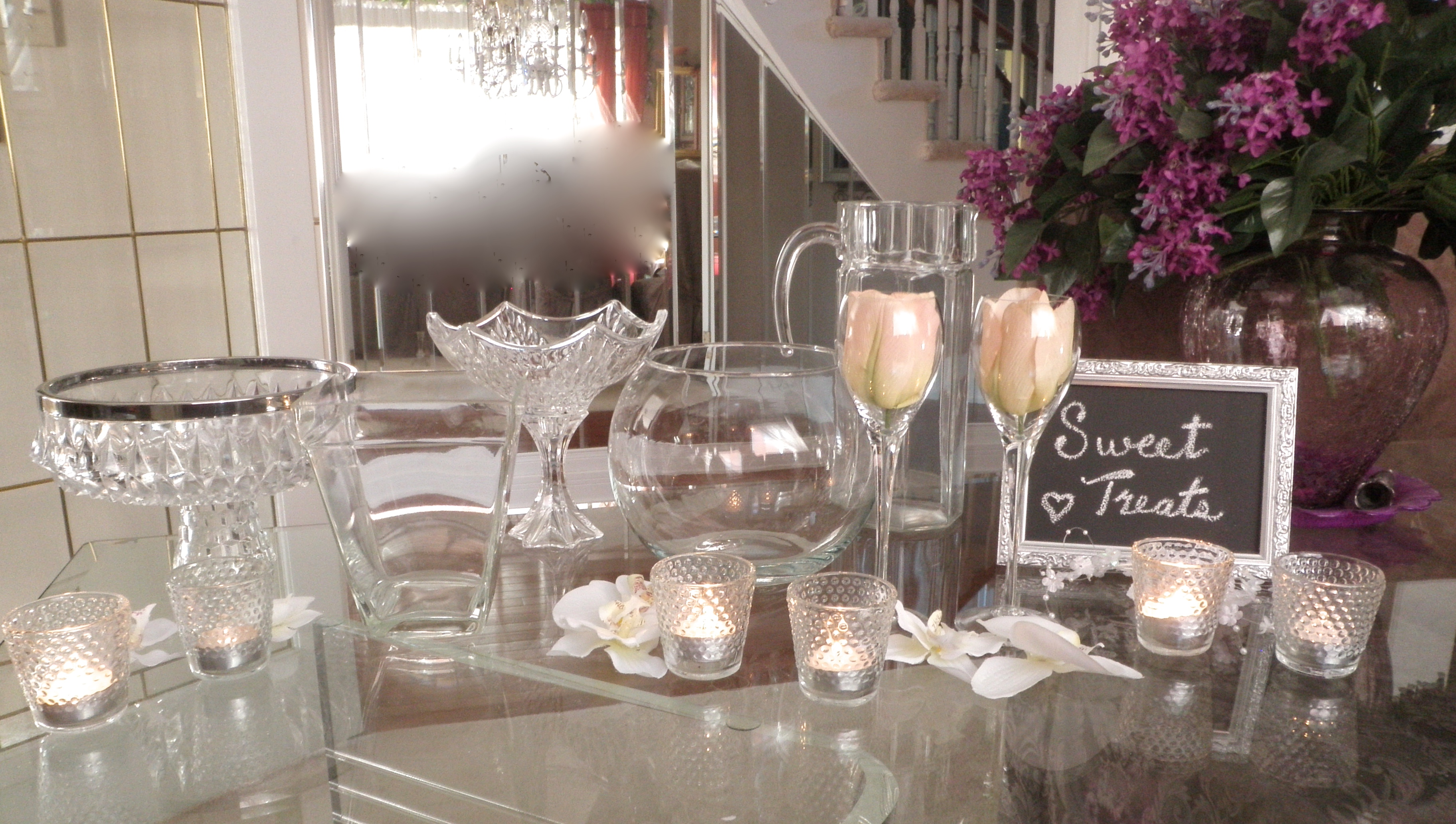 SWEET / DESSERT TABLE GLASSWARE for WEDDING, CHRISTMAS ENTERTAINING or SPECIAL OCCASIONS