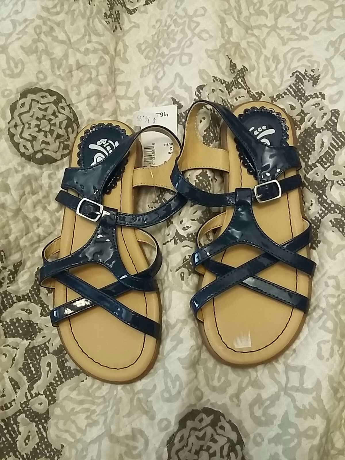 Nwt! Children's Place Patent Navy Sandals
