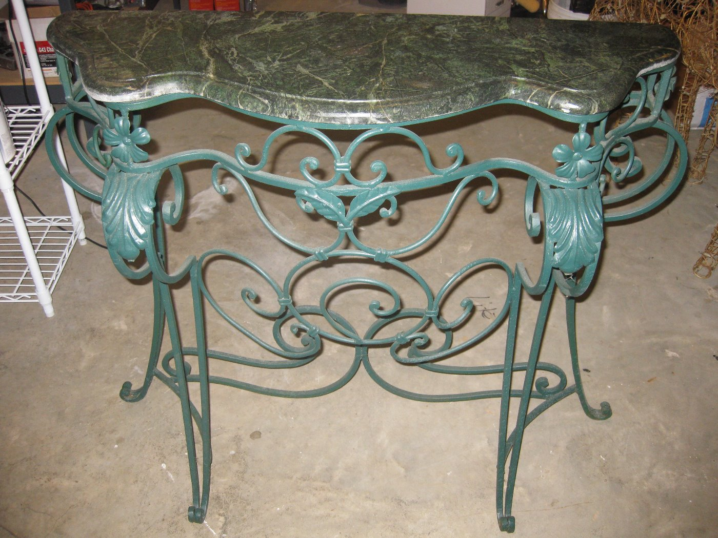 Wrought Iron Console Table with Marble Top reduced to $65.00